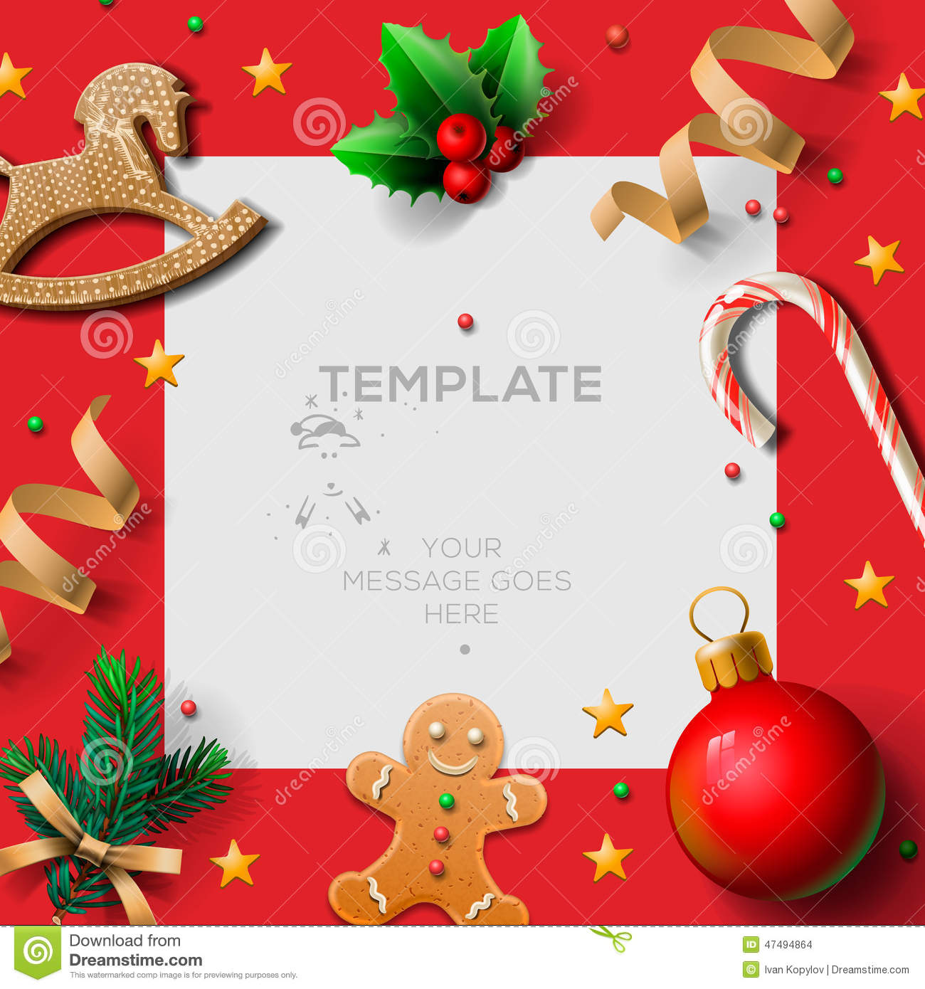 Merry Christmas Festive Template With Gingerbread Men And Christmas