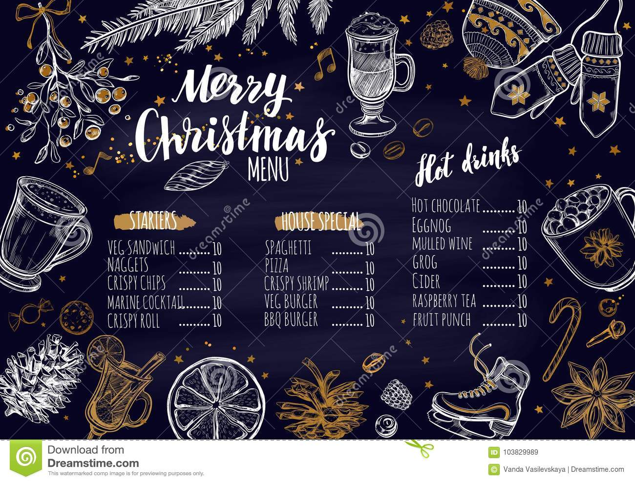 merry christmas festive winter menu on chalkboard design template