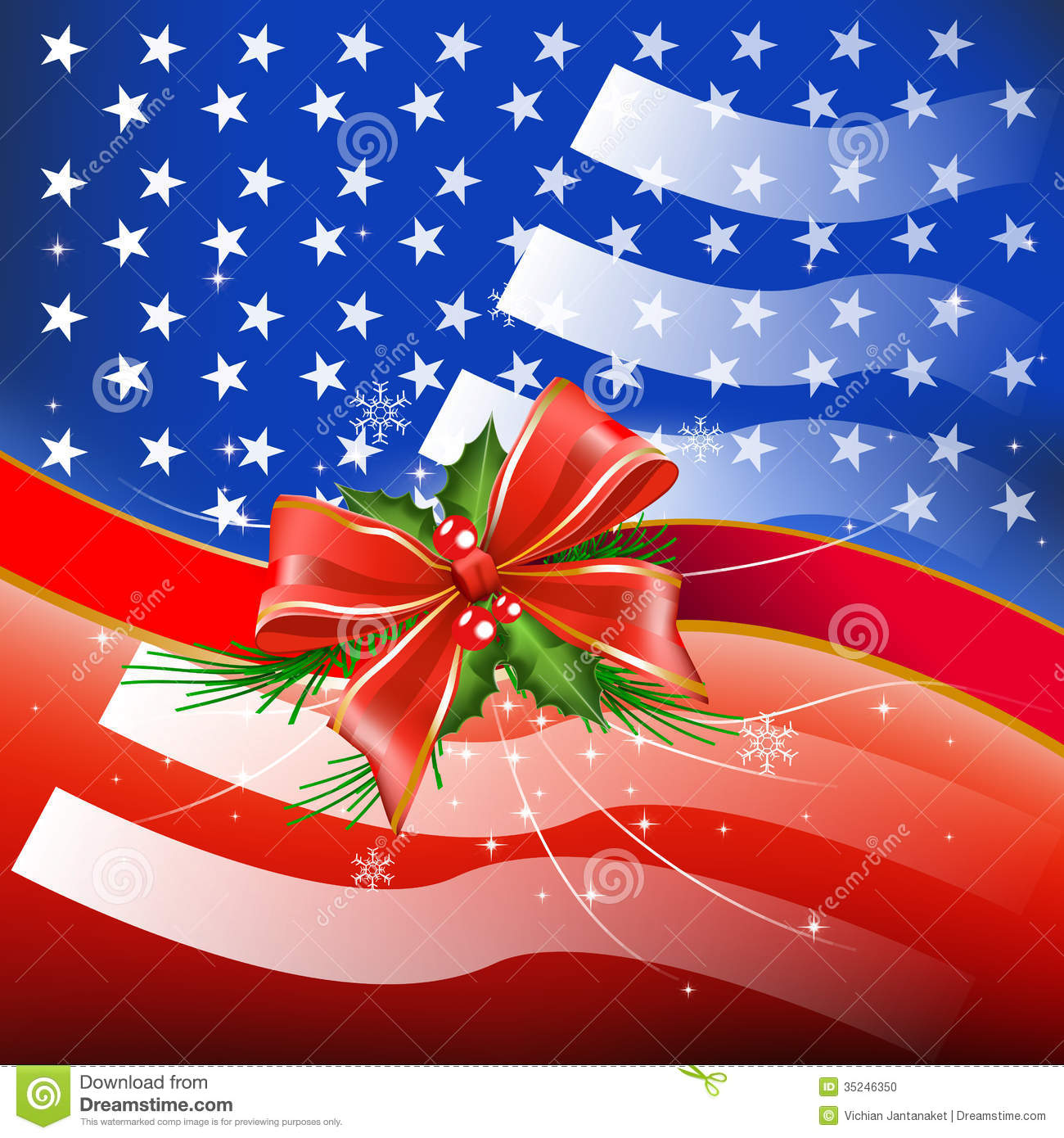 merry christmas with flag usa stock illustration image. Black Bedroom Furniture Sets. Home Design Ideas