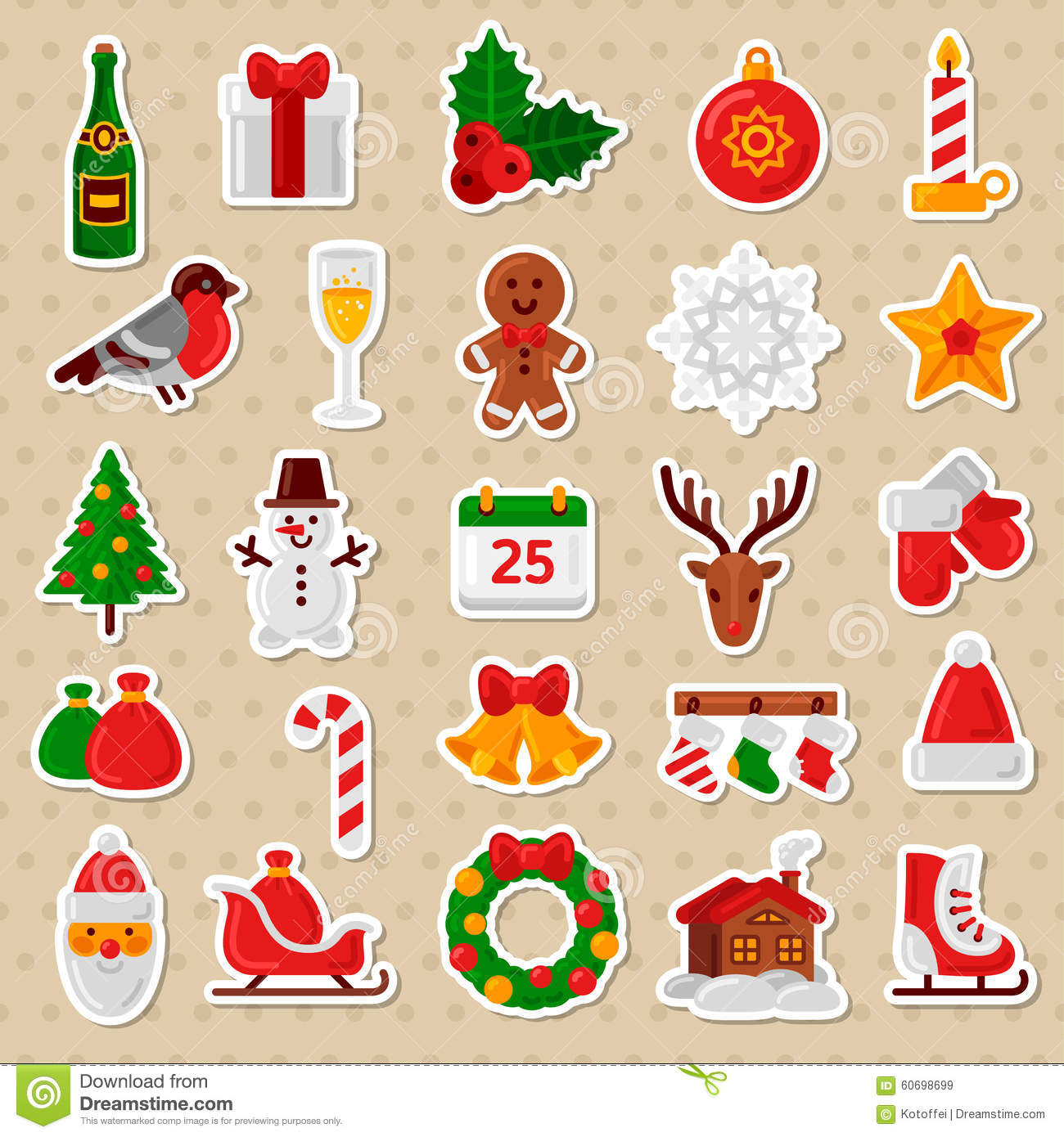 Sticker Stencils For Walls Merry Christmas Flat Icons Happy New Year Stickers Stock