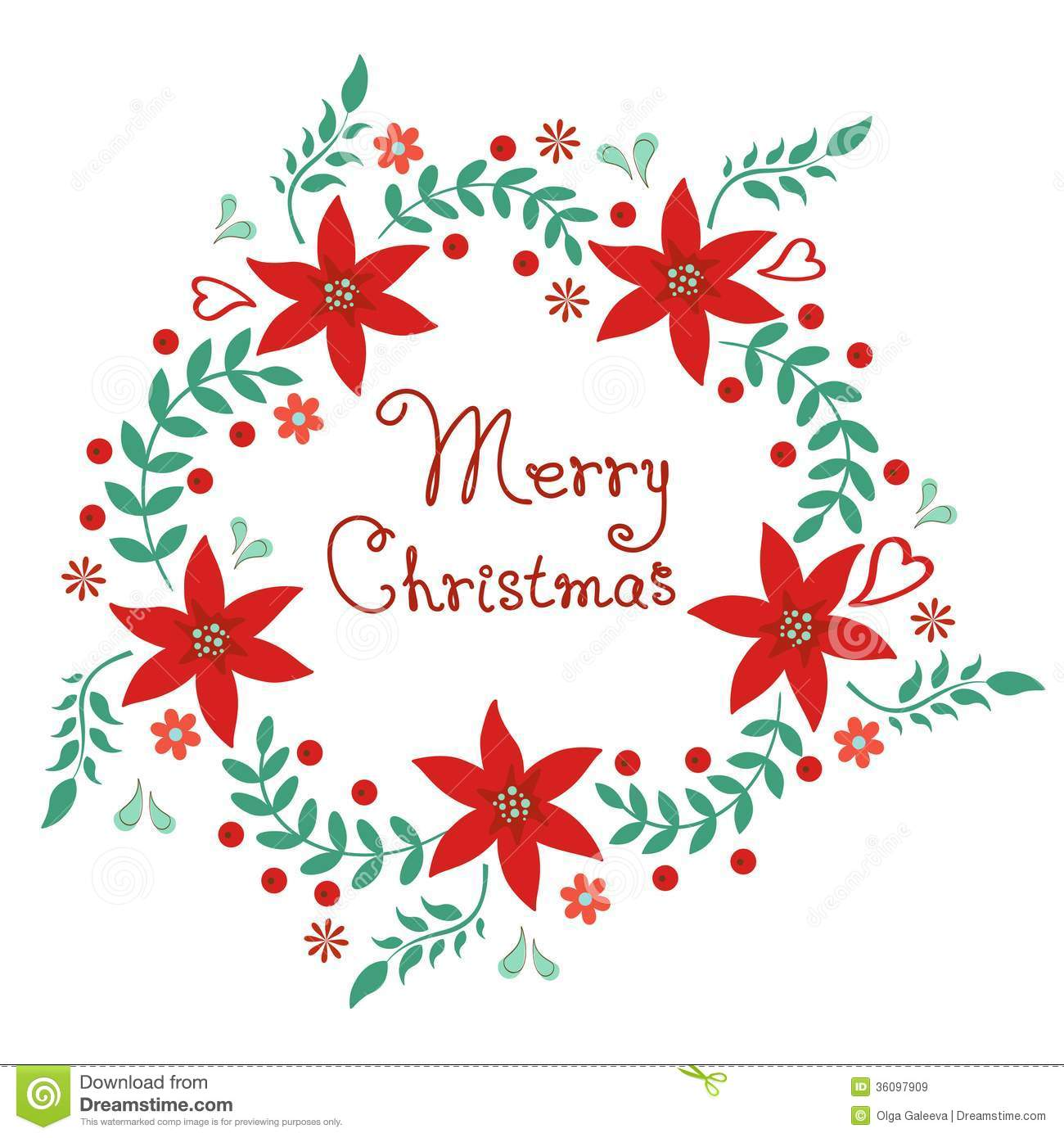 Christmas Flower Line Drawing : Merry christmas floral wreath stock vector illustration
