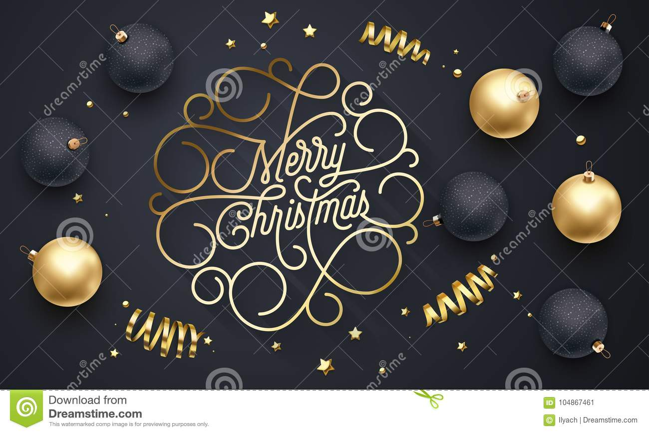 Merry Christmas flourish golden calligraphy lettering of swash line gold typography for greeting card design. Vector festive golde