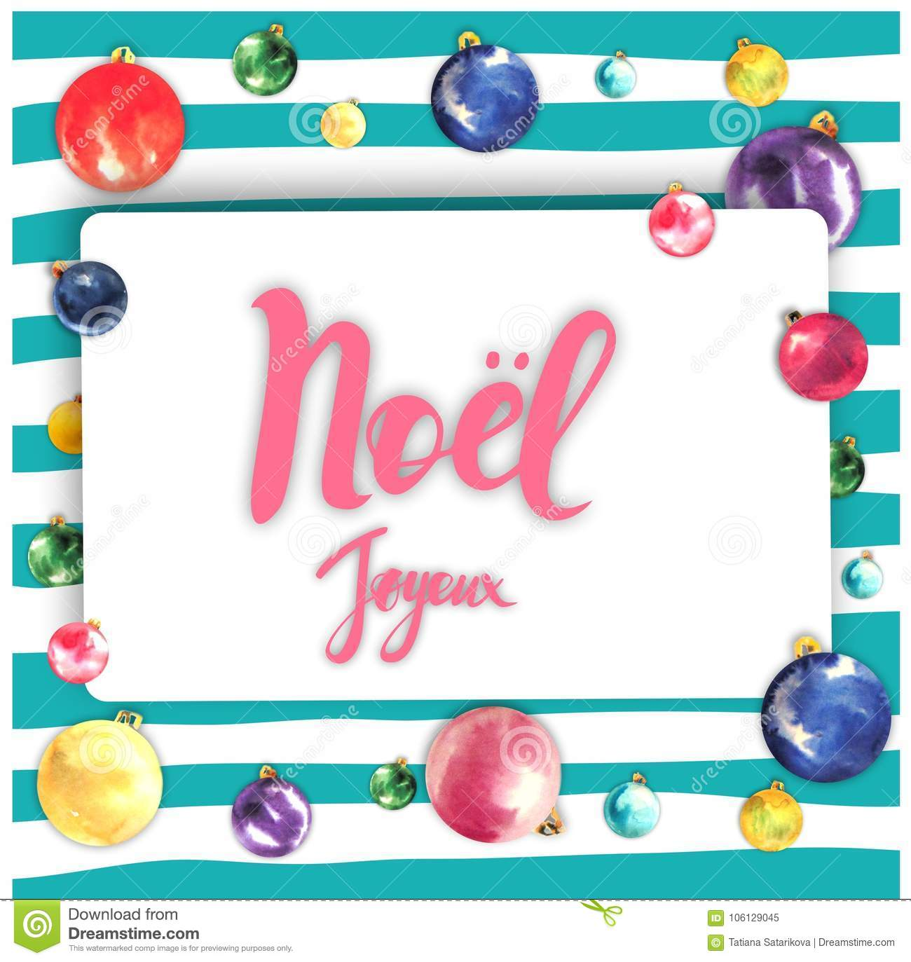 Merry Christmas Frame Card Design With Greetings In French Language
