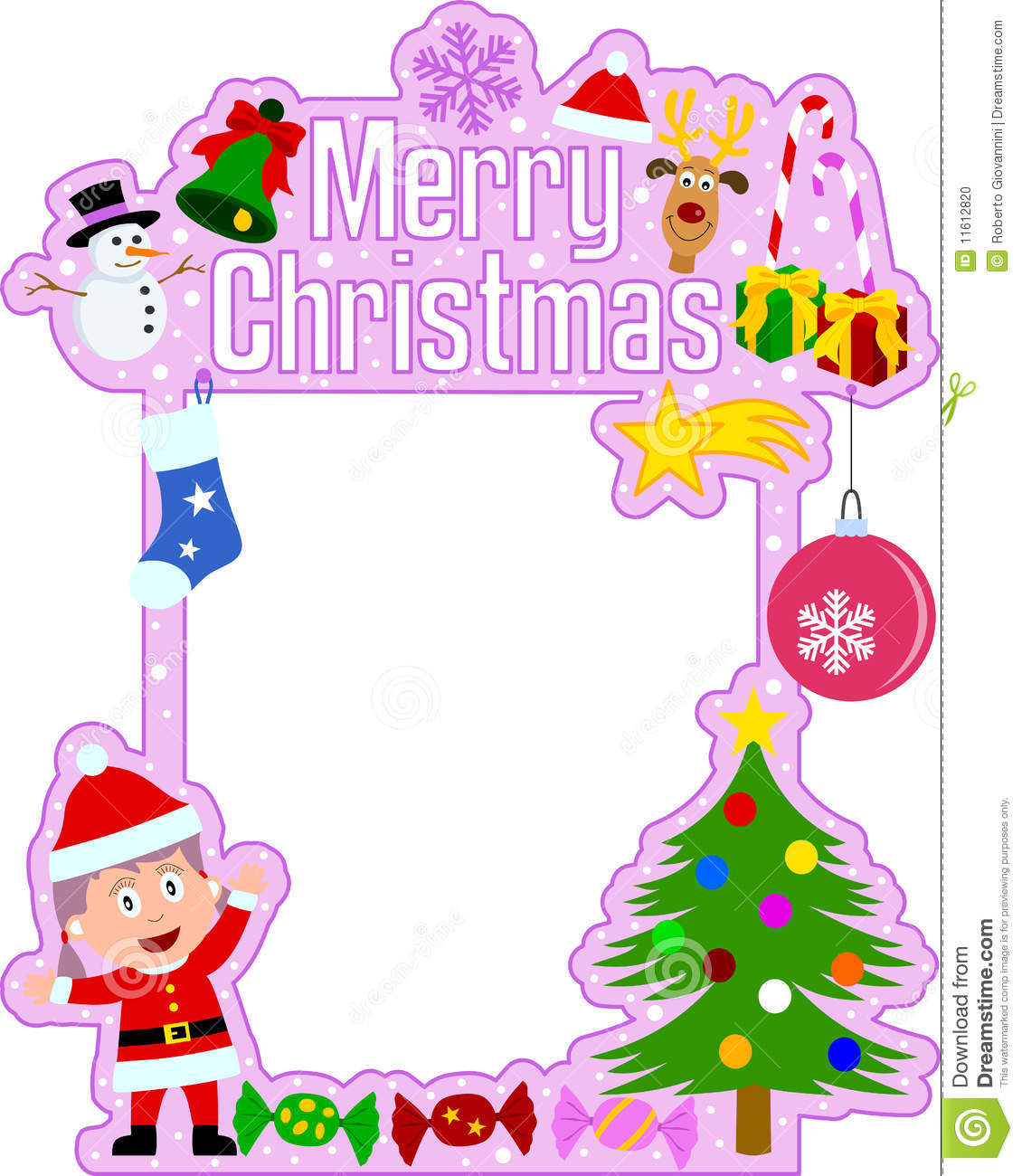 Superb A Funny Merry Christmas Frame With Christmas Elements And A Girl Dressed As  Santa Claus. Useful Also For Scrapbook, Post Card Or Photo Frame.
