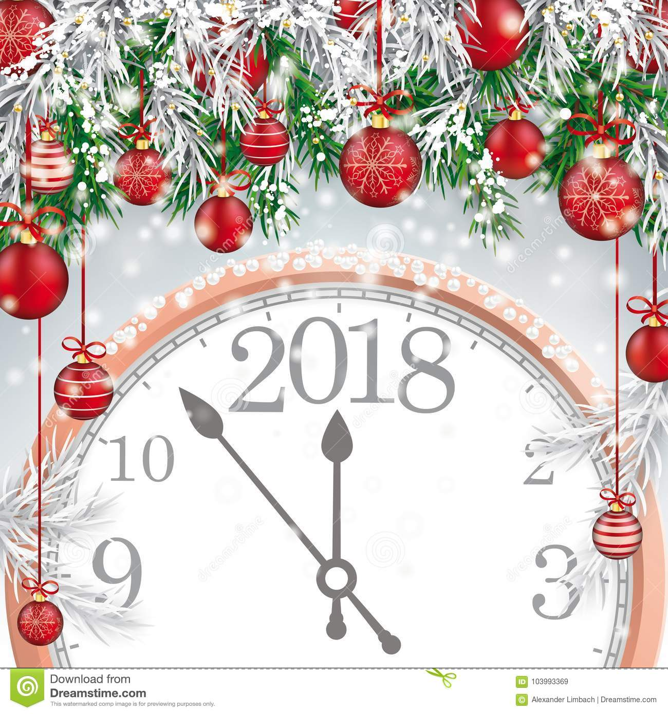 Merry Christmas Frozen Green Twigs Red Baubles Clock 2018 Stock ...