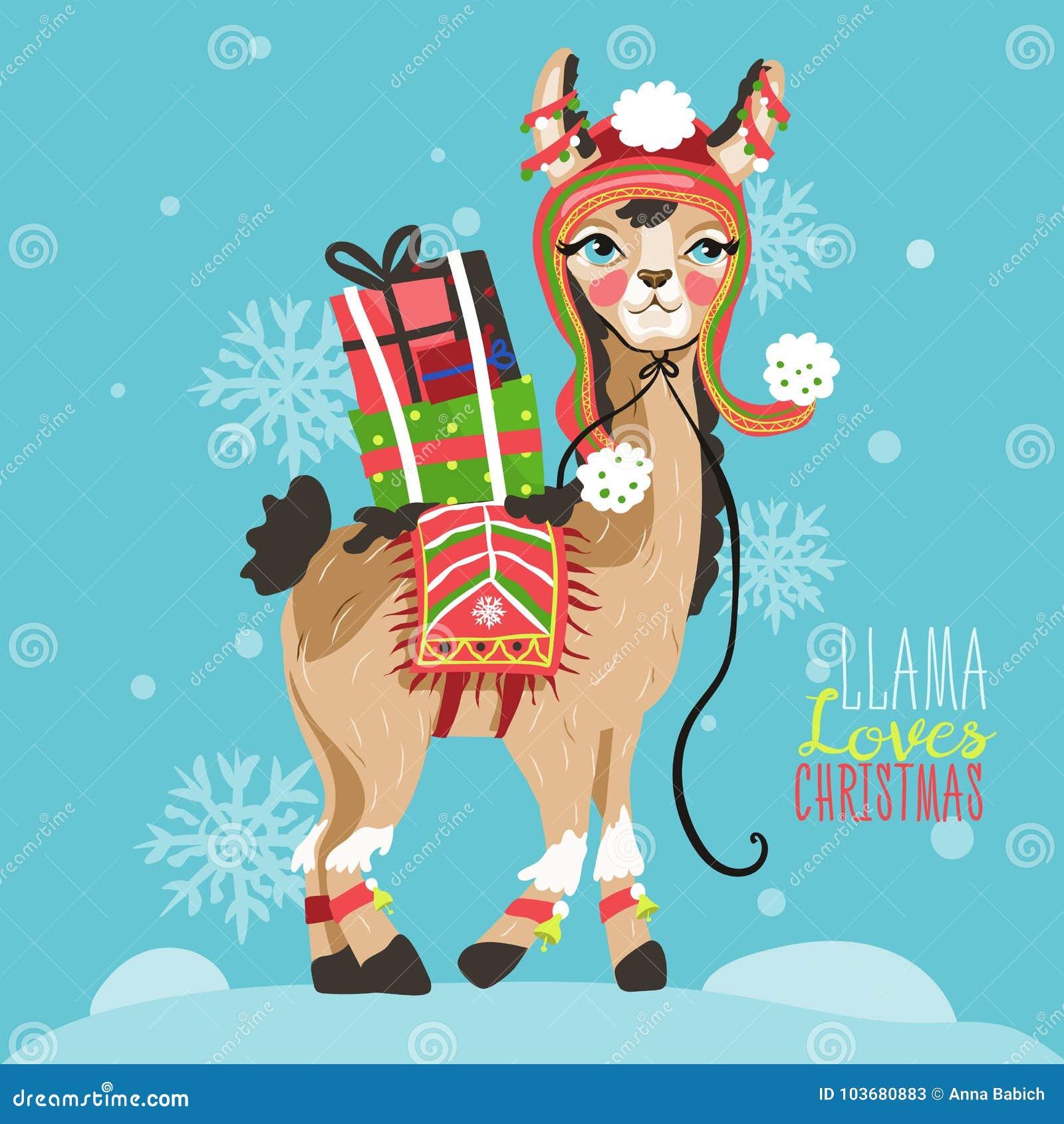 Llama Christmas.Merry Christmas Funny Card With Llama Stock Vector