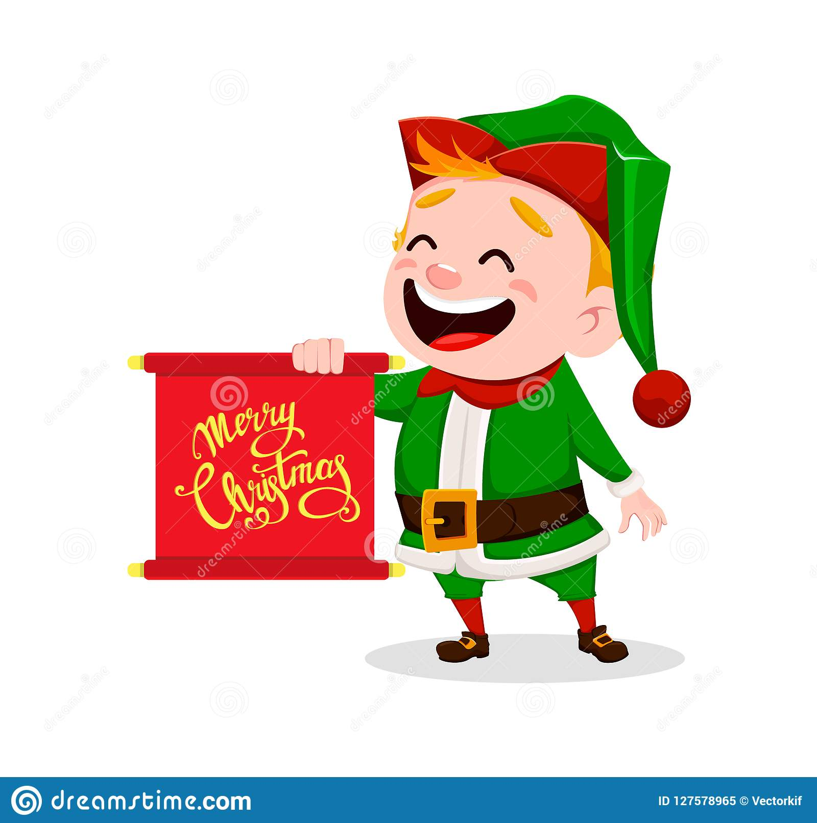 Merry Christmas Funny Images.Merry Christmas Funny Santa Claus Helper Stock Vector