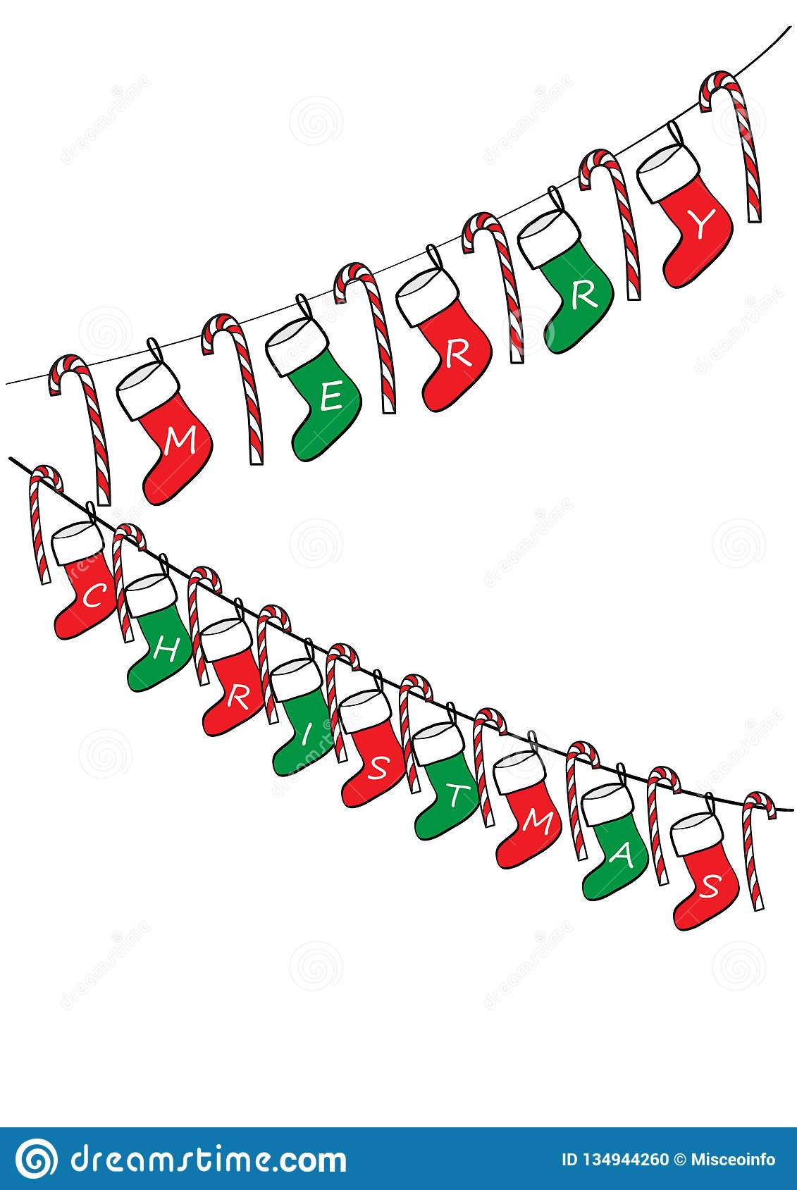Merry Christmas Garland Vector Decoration Stock Vector