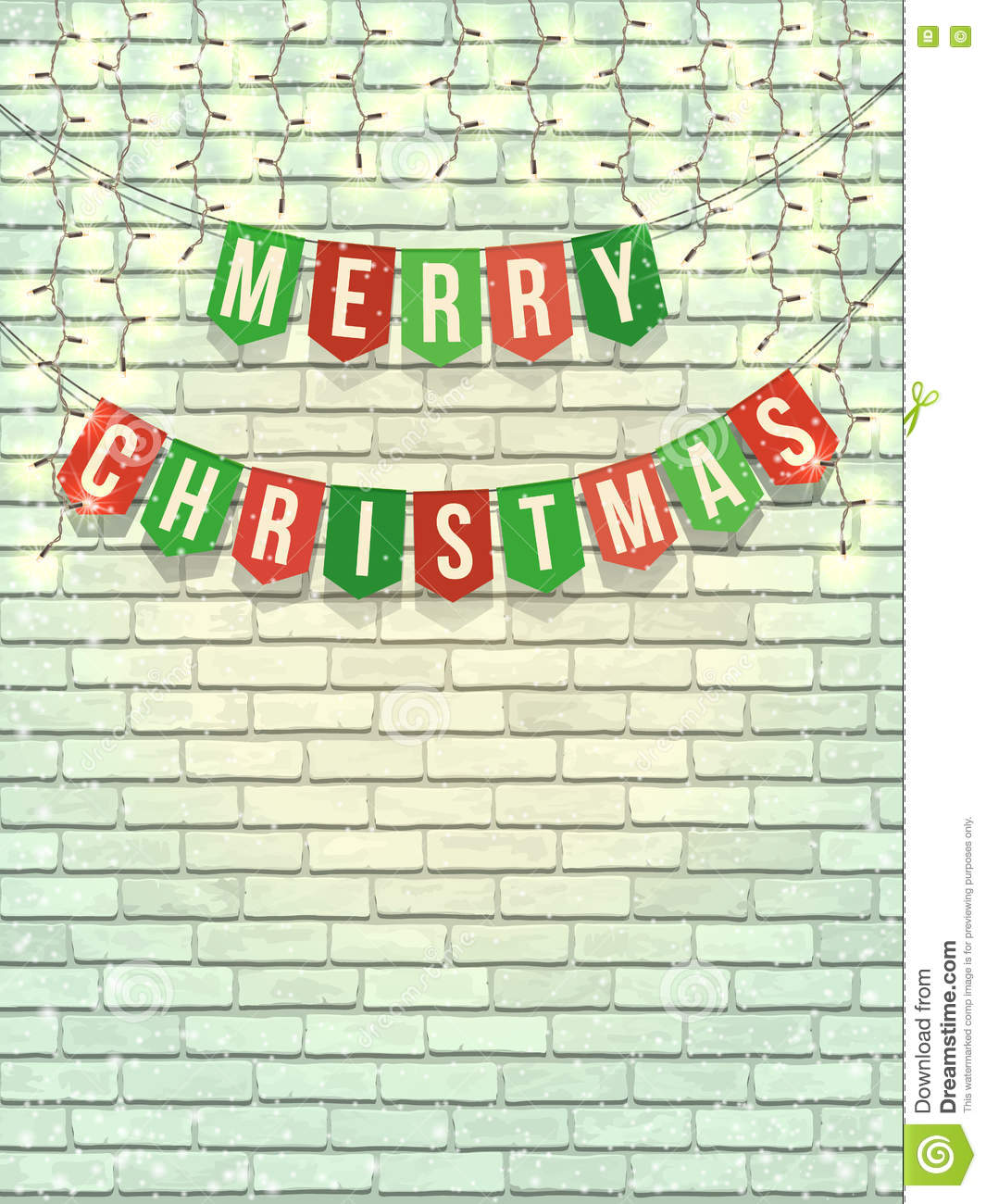 Merry Christmas Garland On White Brick Wall Stock Vector