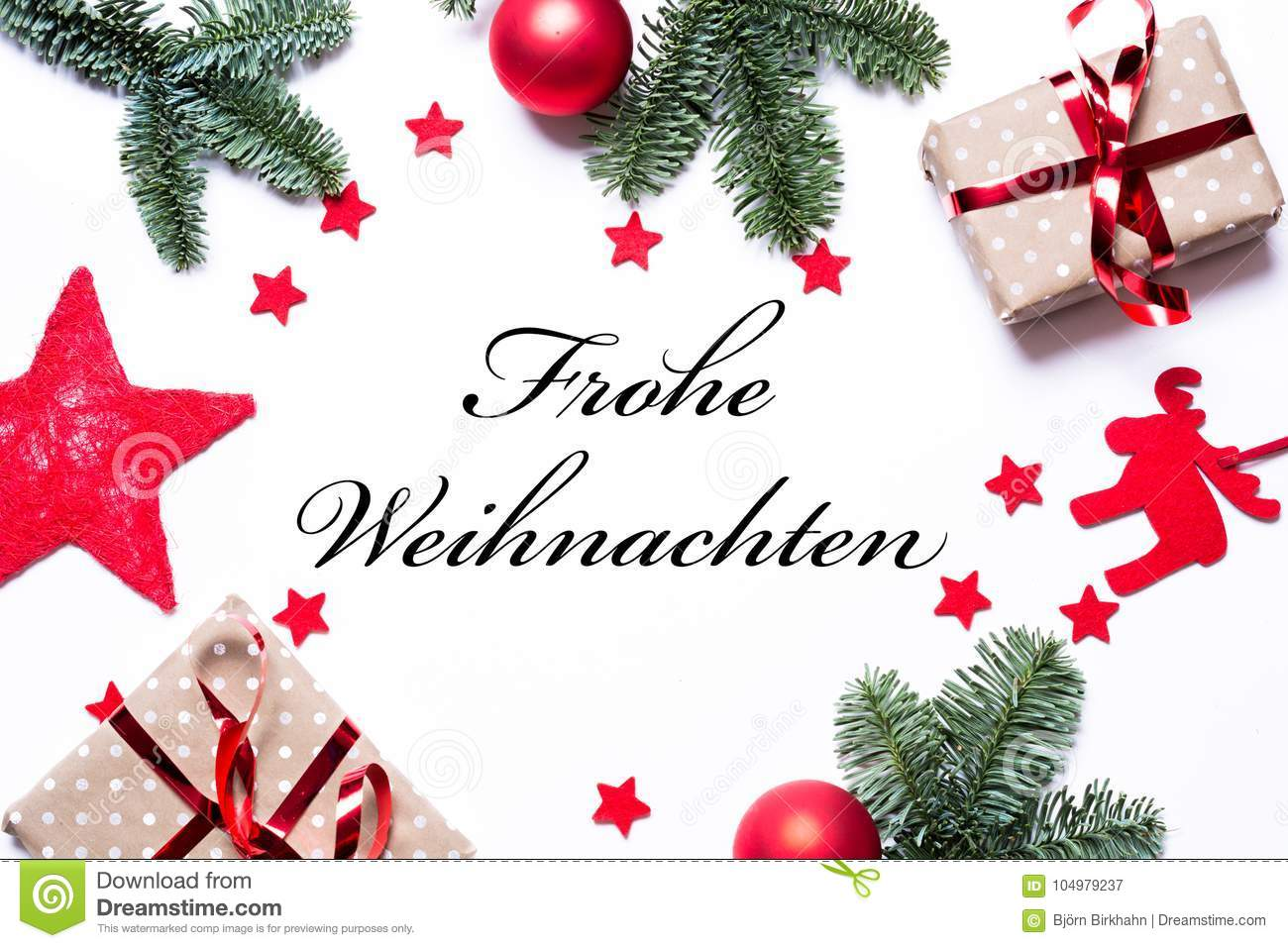 download merry christmas in german on a christmas background with present stock image image of