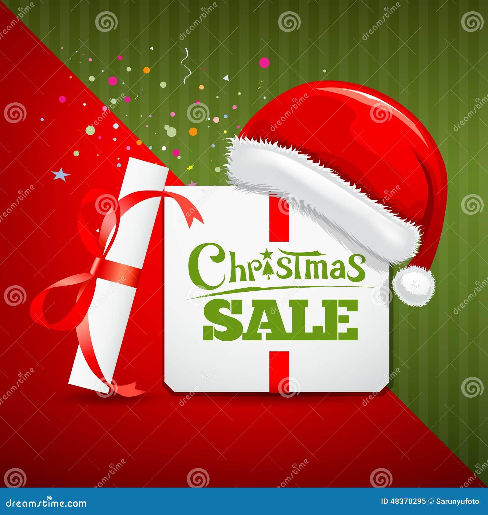 Merry Christmas Gift Box Santa Hat Sale Design Stock Illustration ...