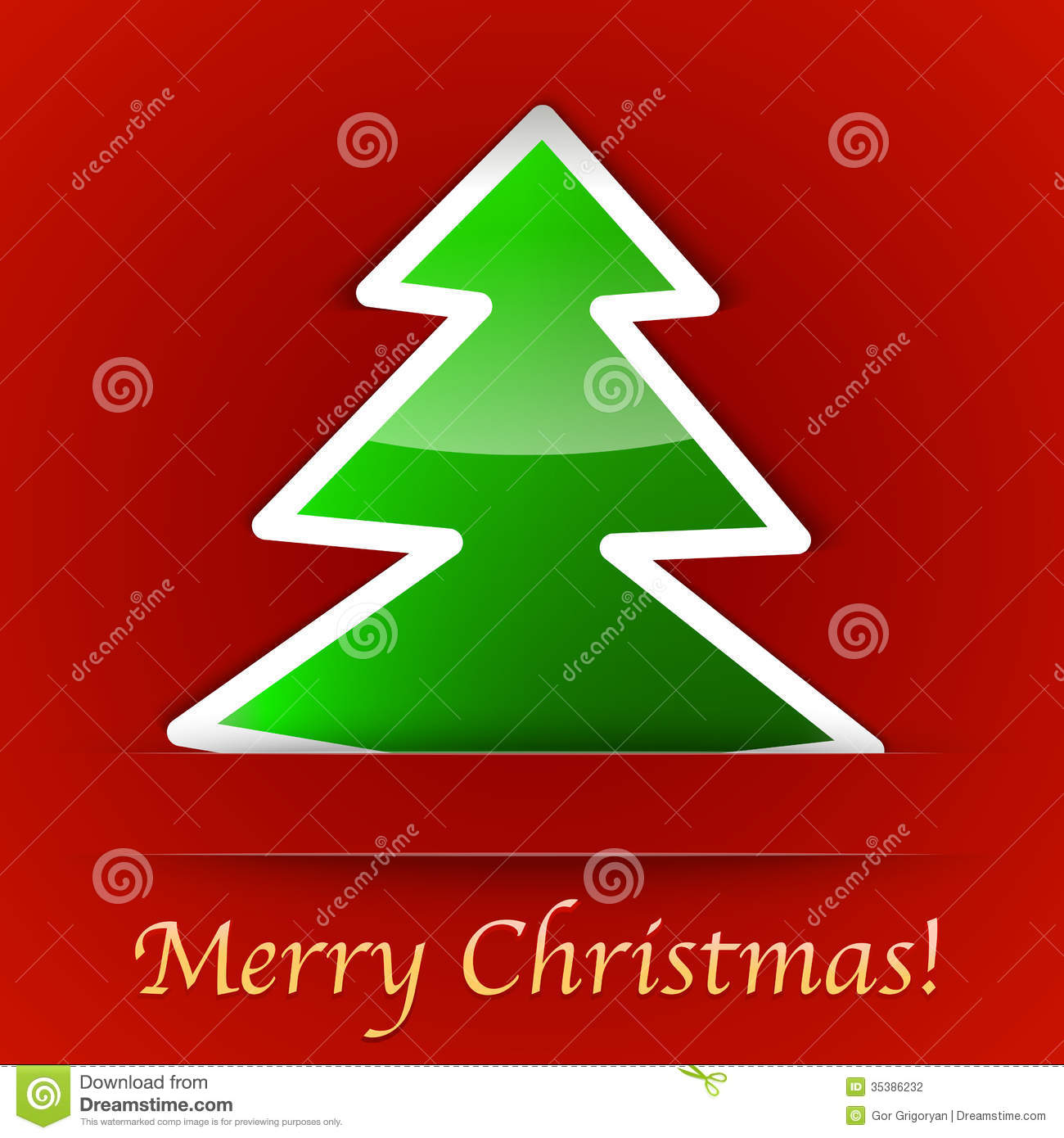 Merry Christmas Gift Card With A Simple Christmas Tree Placed On ...
