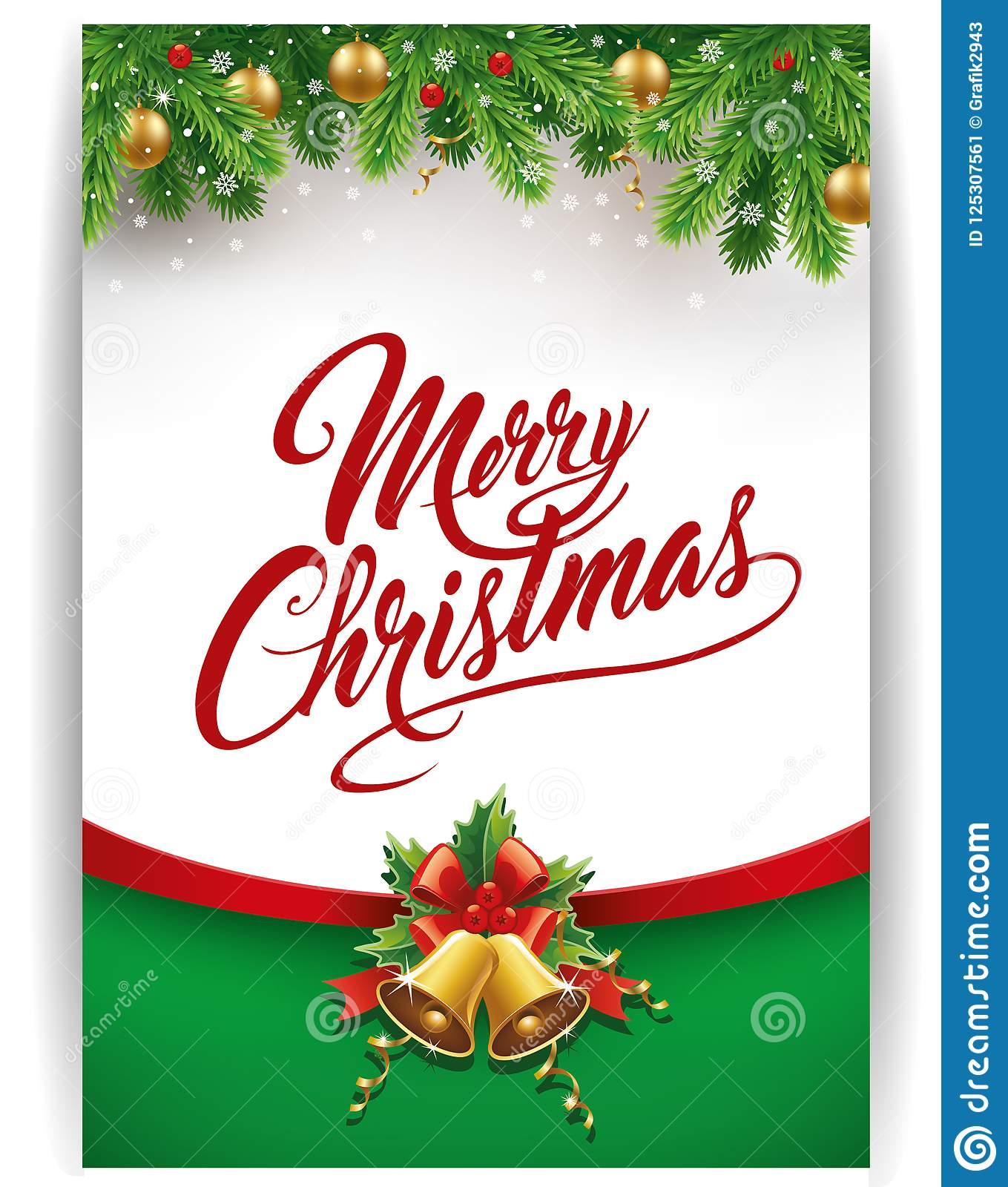 Merry Christmas Gift.Merry Christmas Gift Card With Traditional Decorations Stock