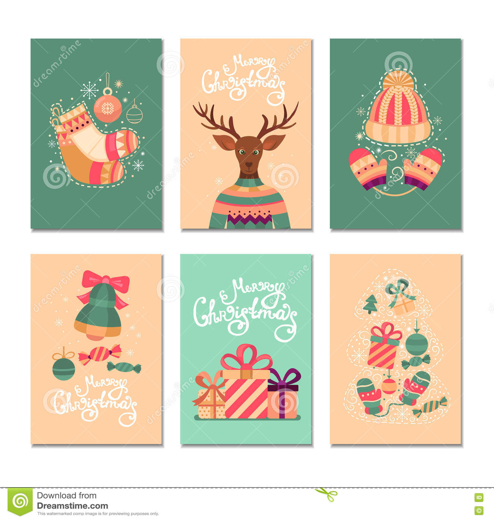 Merry Christmas Gift Cards Stock Illustration Illustration Of
