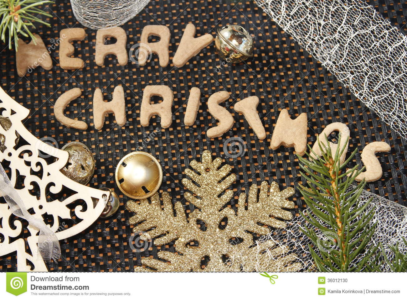 Merry christmas gingerbread with christmas decorations for Another word for christmas decoration
