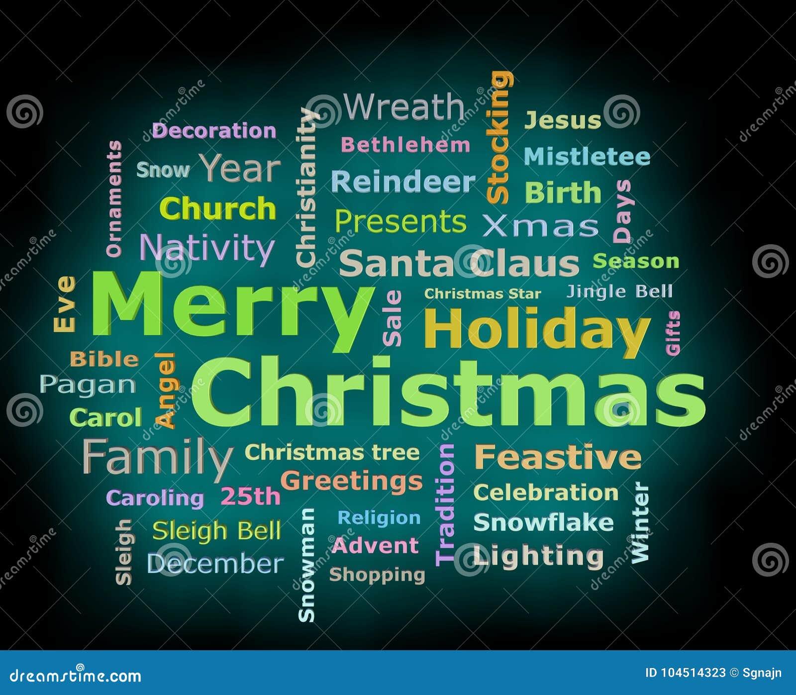Merry Christmas Cyan Glow 3d Texts Greetings Word Cloud Stock