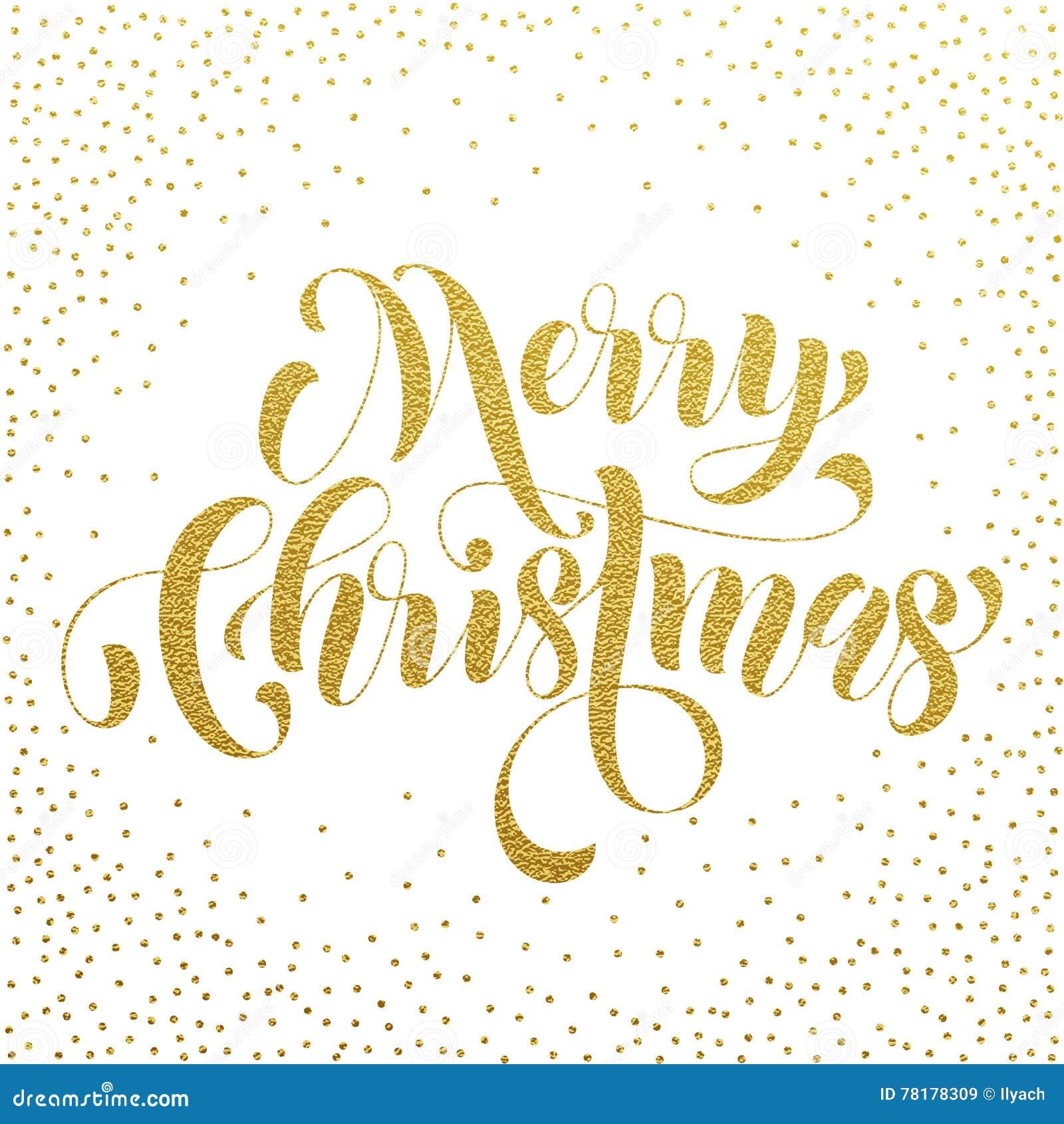 Merry Christmas Gold Glitter Lettering Greeting Stock Illustration ...