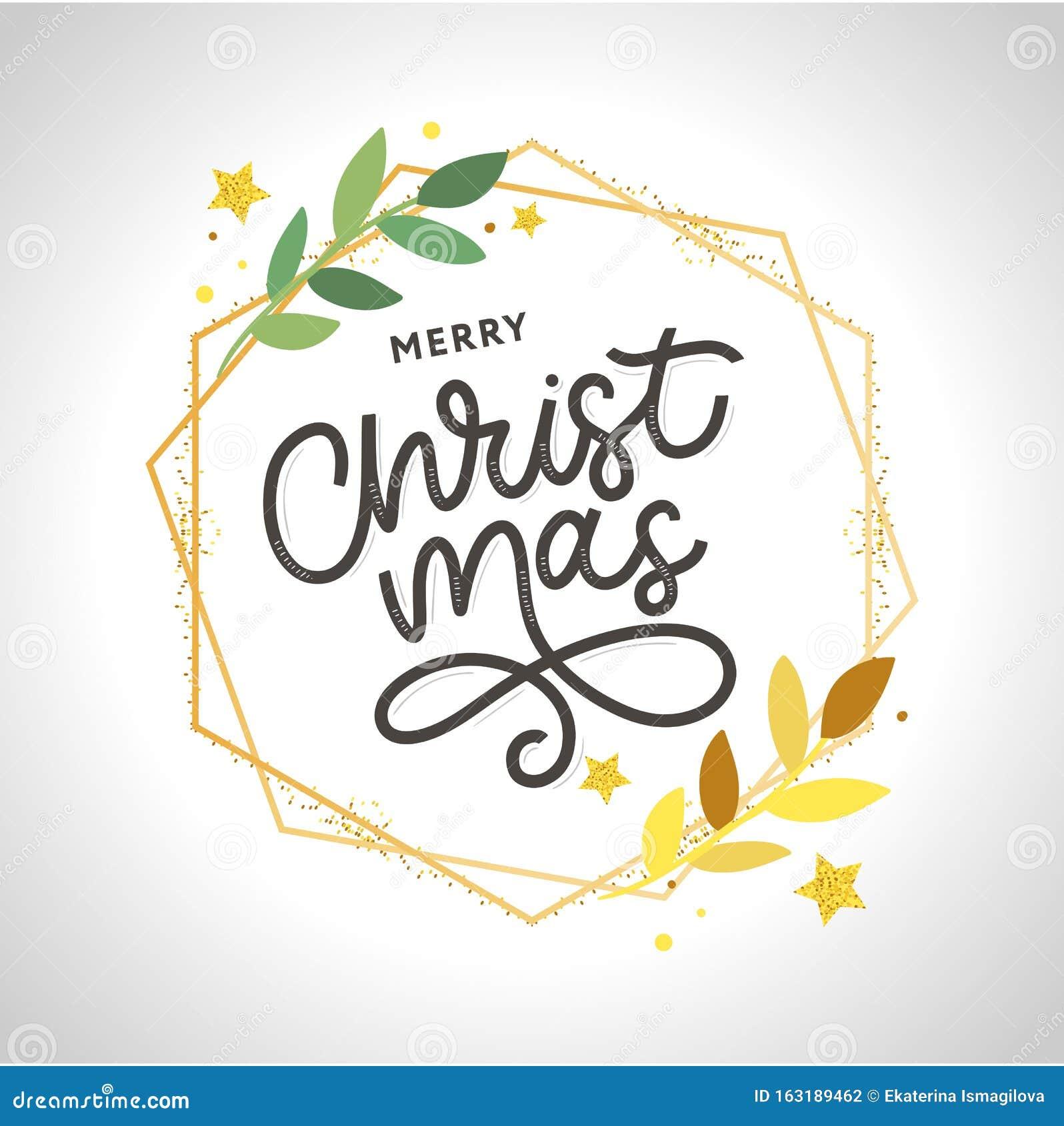 Merry Christmas gold glittering lettering design. Vector illustration EPS 10