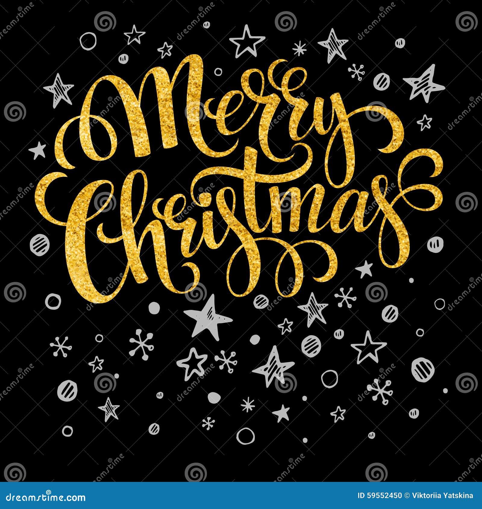 Merry Christmas Gold Glittering Lettering Design Stock Vector ...