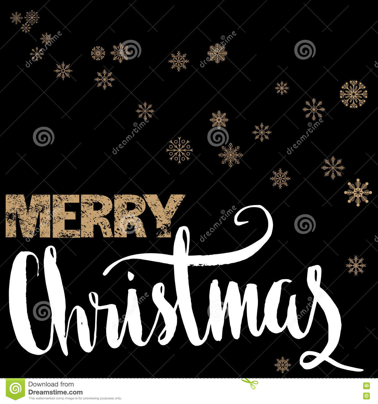 Merry Christmas Gold And White Lettering Design On Black Background With Golden Snowflakes
