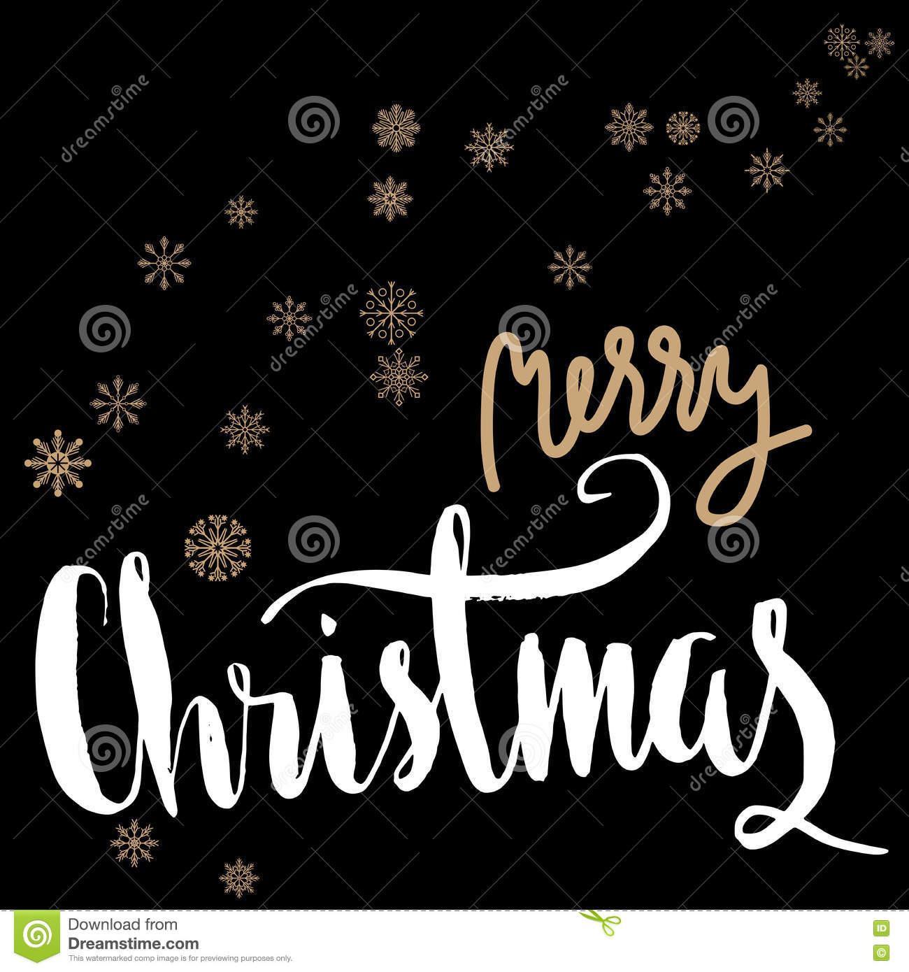 Merry Christmas Gold And White Lettering Design On Black Background