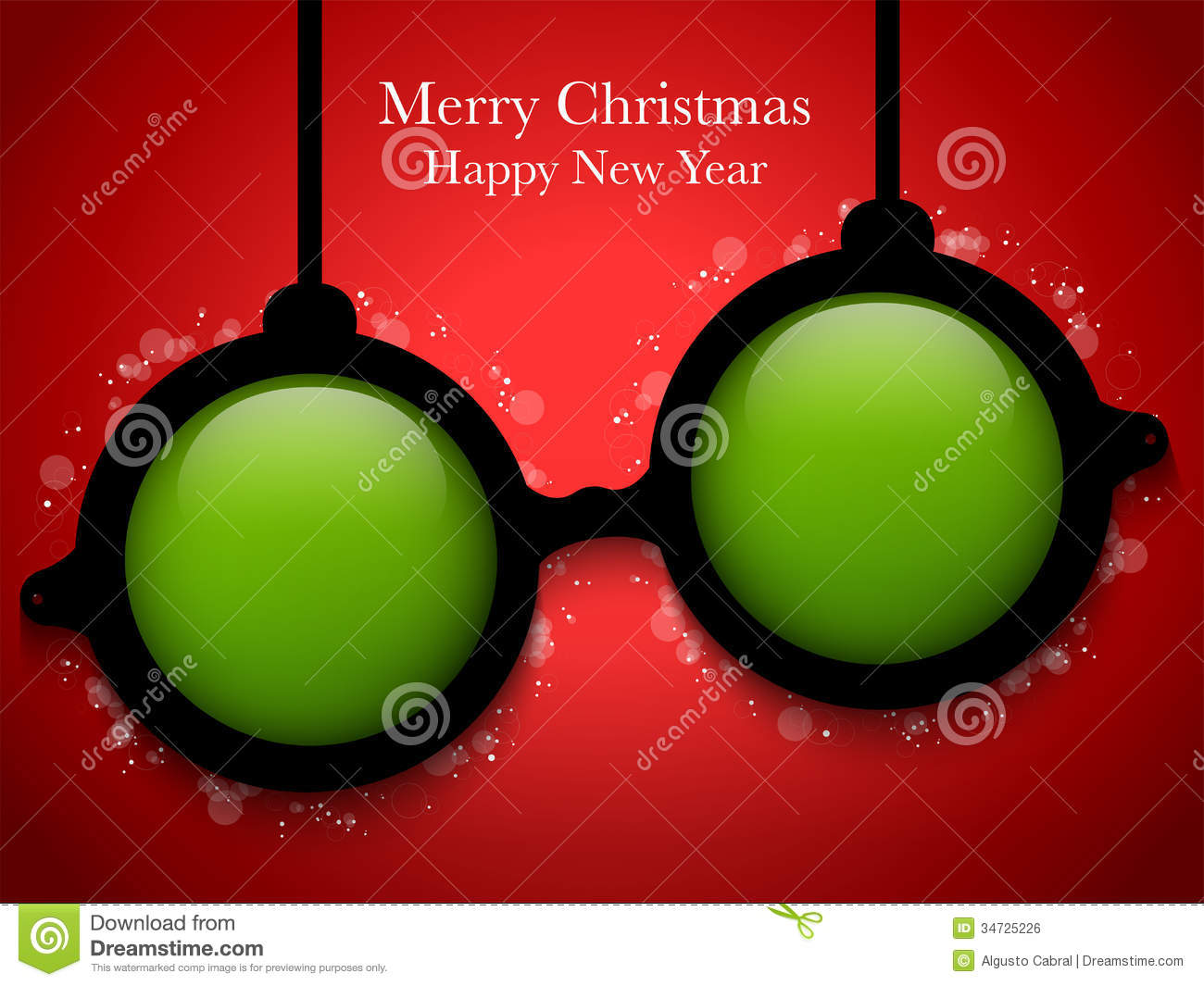 merry christmas green ball with glasses