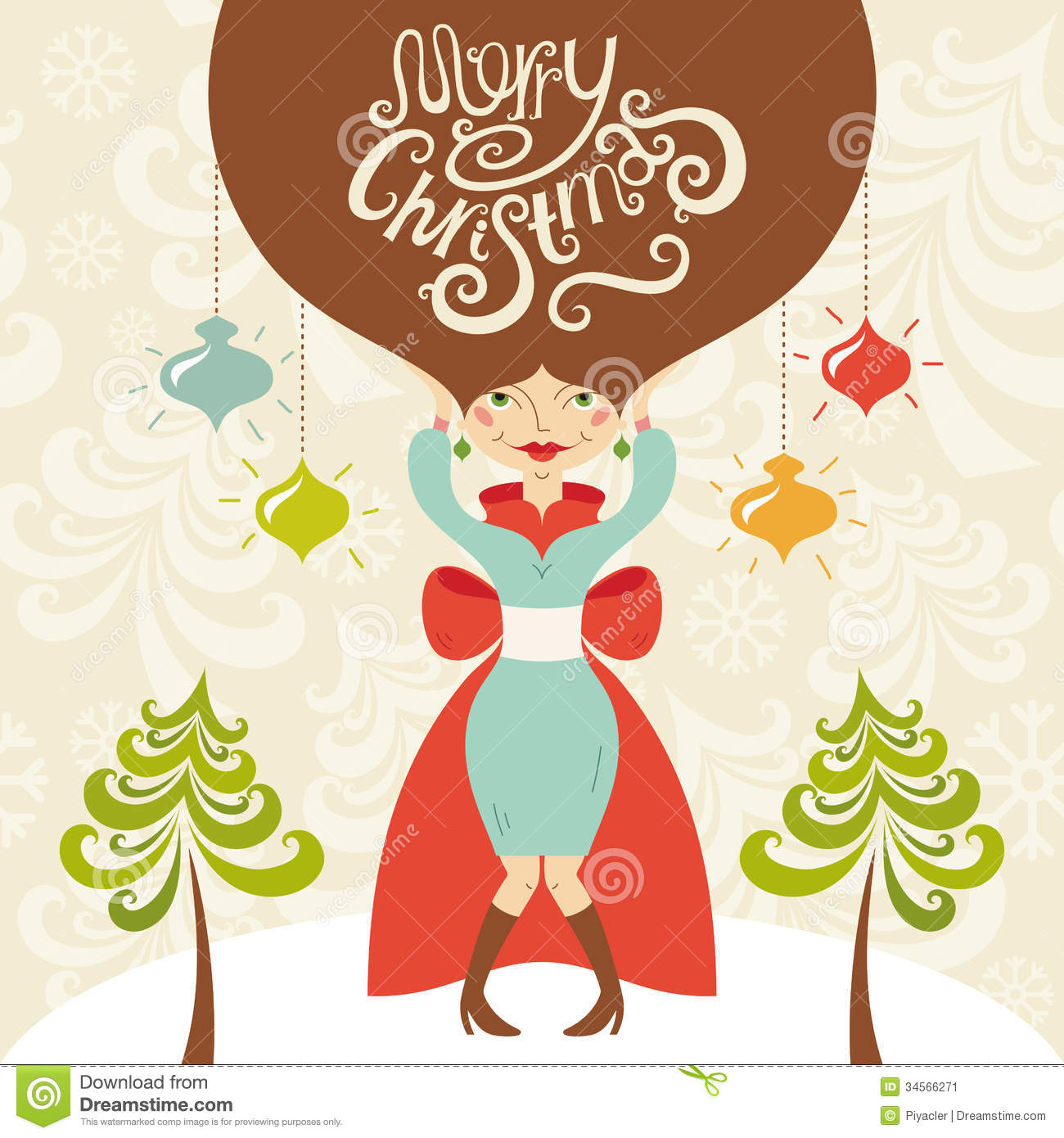 Merry Christmas Illustration.Merry Christmas Greeting Card With Beautiful Lady Stock