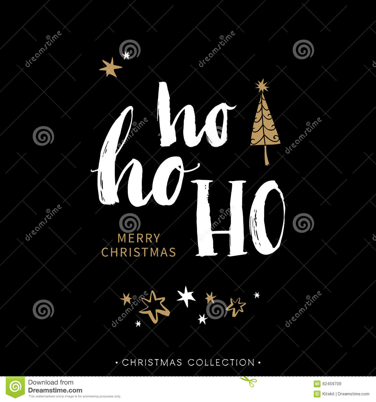 Merry Christmas Greeting Card With Calligraphy. Hoho. Stock Vector - Image: 62459709