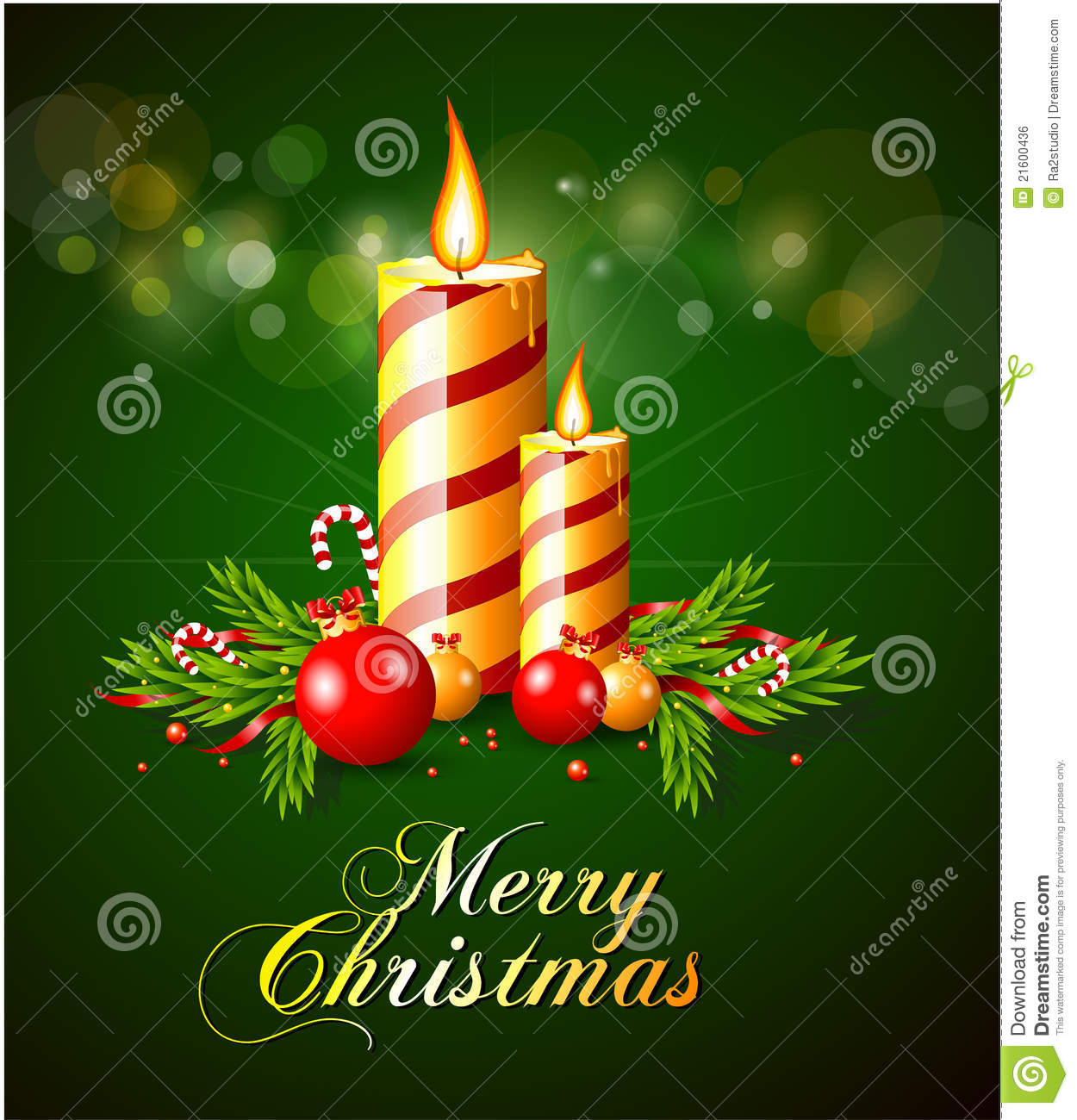 Merry christmas greeting card with candles stock vector