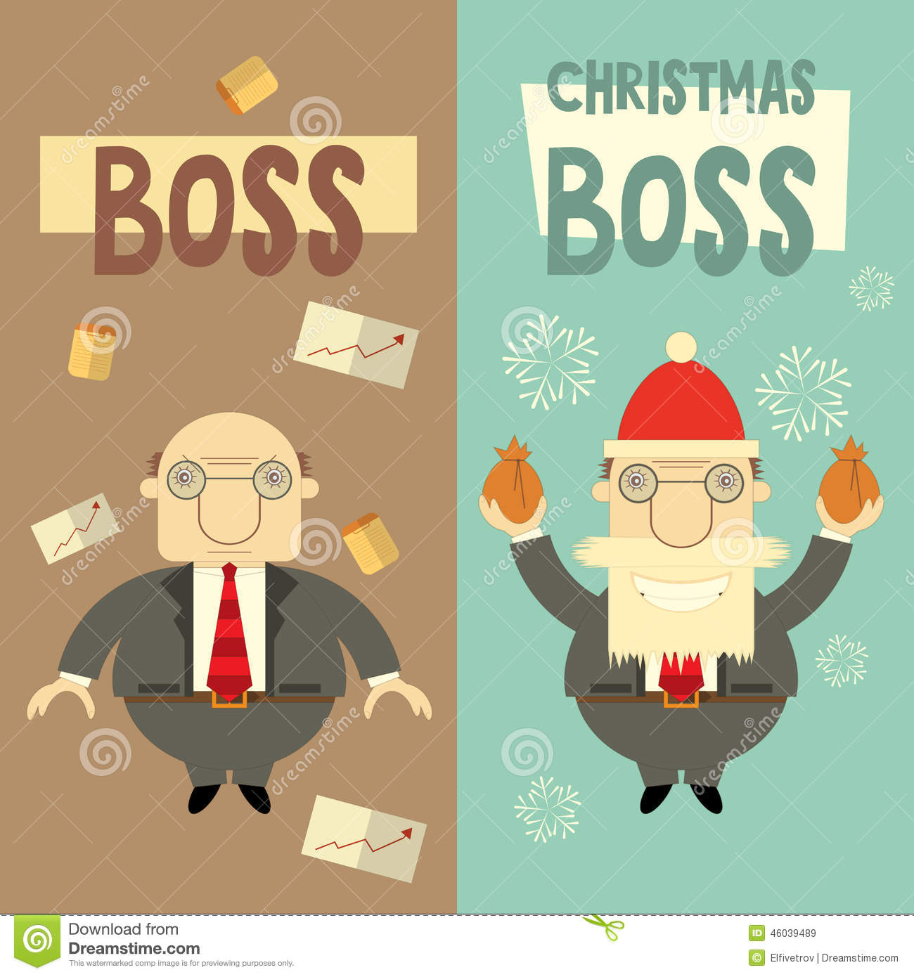 Merry christmas greeting card stock vector illustration of merry christmas greeting card with cartoon santa claus boss and angry boss vector illustration m4hsunfo