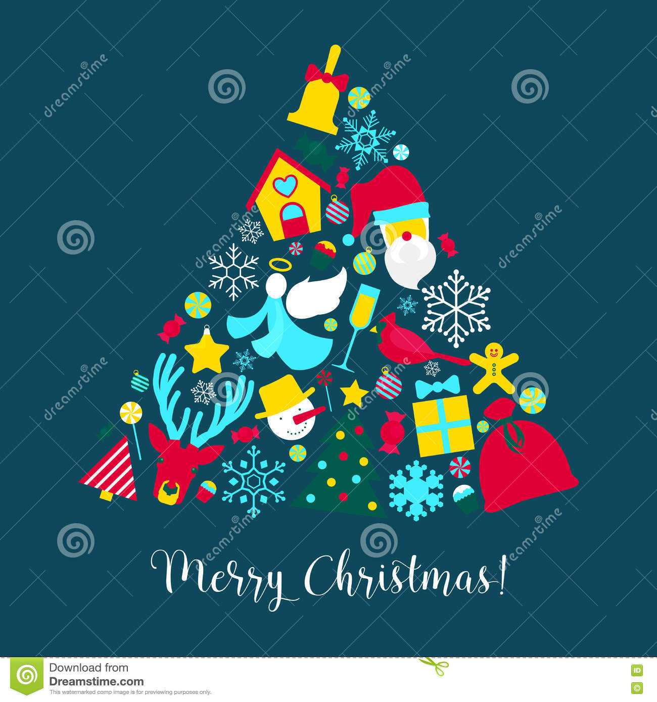 Merry christmas greeting card with christmas tree santa claus and download merry christmas greeting card with christmas tree santa claus and snowflakes stock vector illustration m4hsunfo