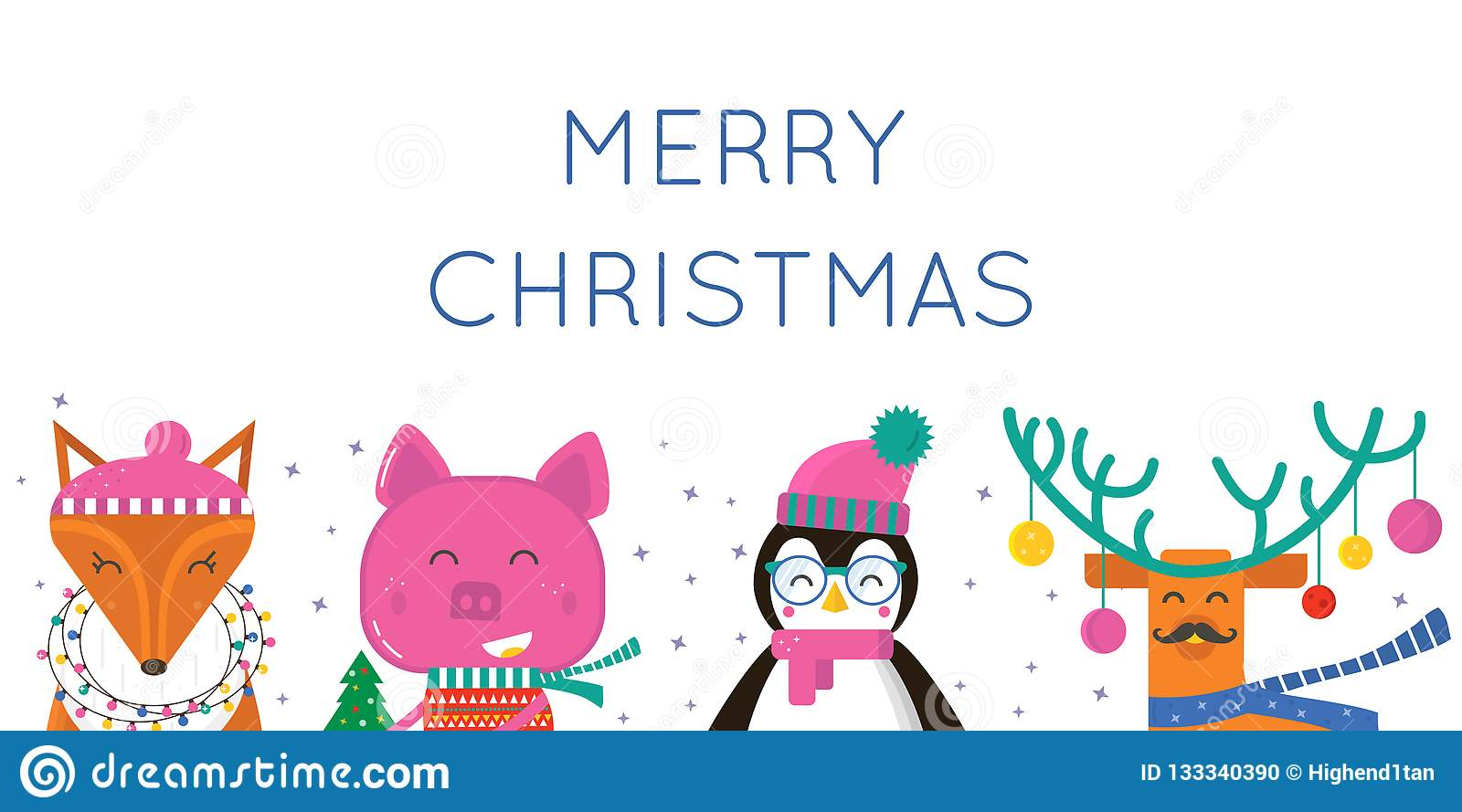 Merry Christmas Greeting Card With Cute Animals Pig Penguin Stock