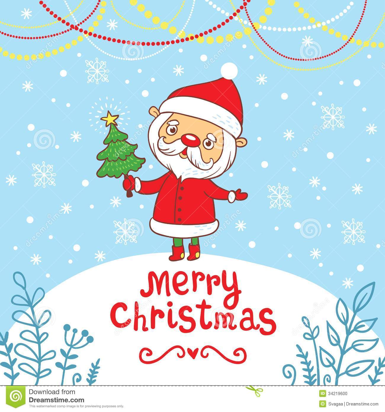 Merry Christmas Greeting Card With Cute Santa Stock Vector