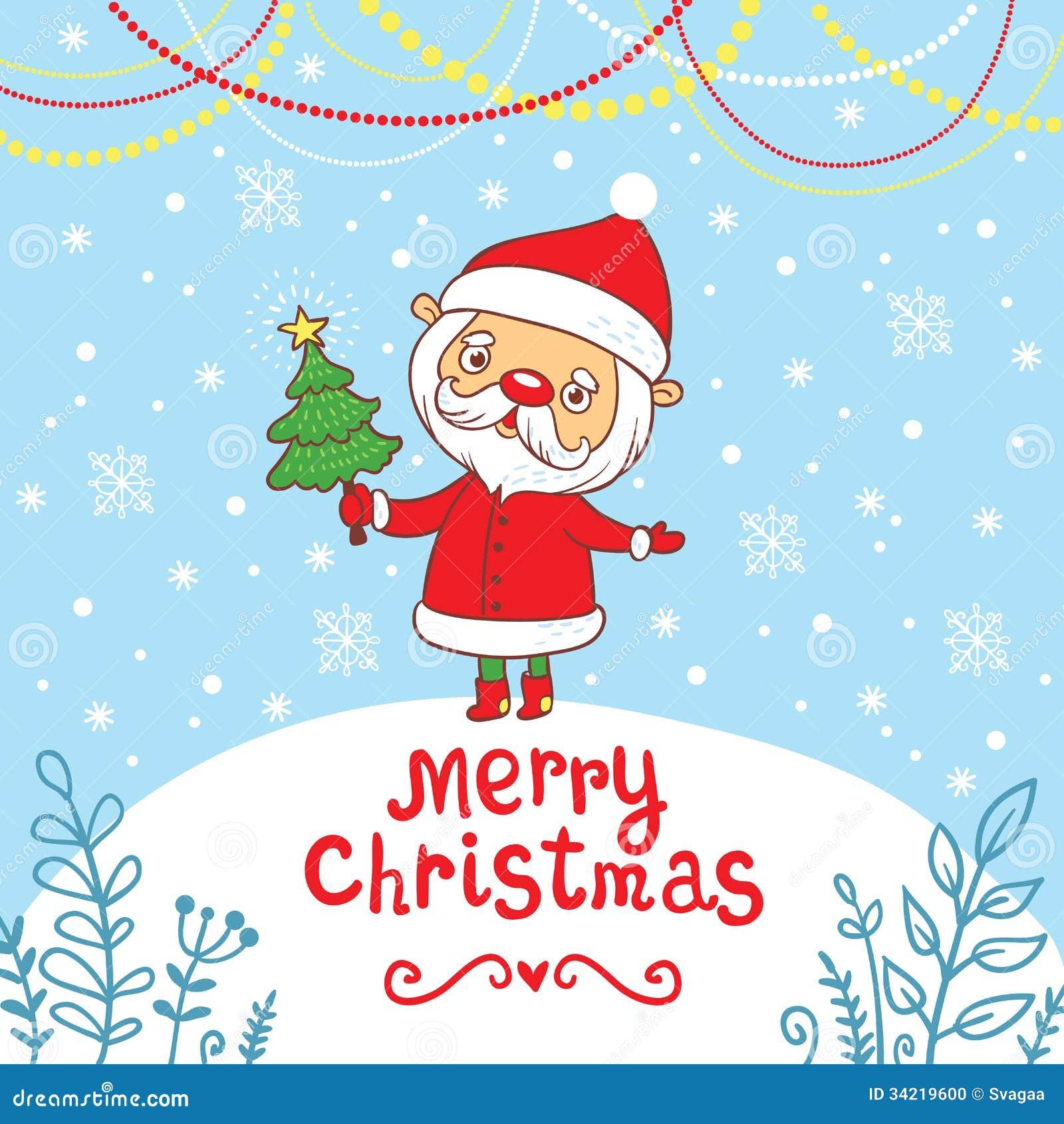 Merry christmas greeting card with cute santa stock vector merry christmas greeting card with cute santa kristyandbryce Image collections