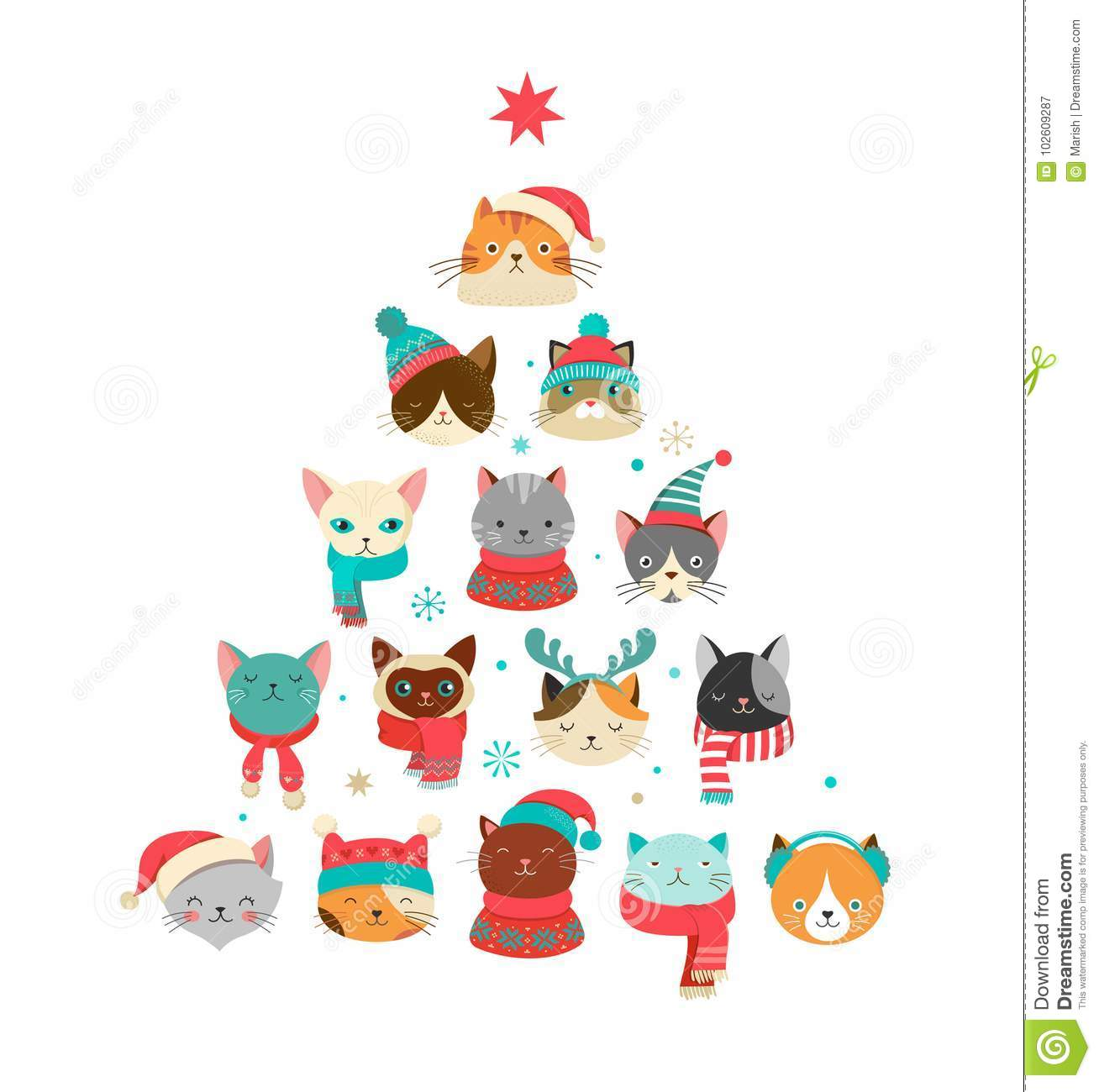 73db1b1256dbef Merry Christmas Greeting Card With Cute Xmas Tree With Cats Headsn ...