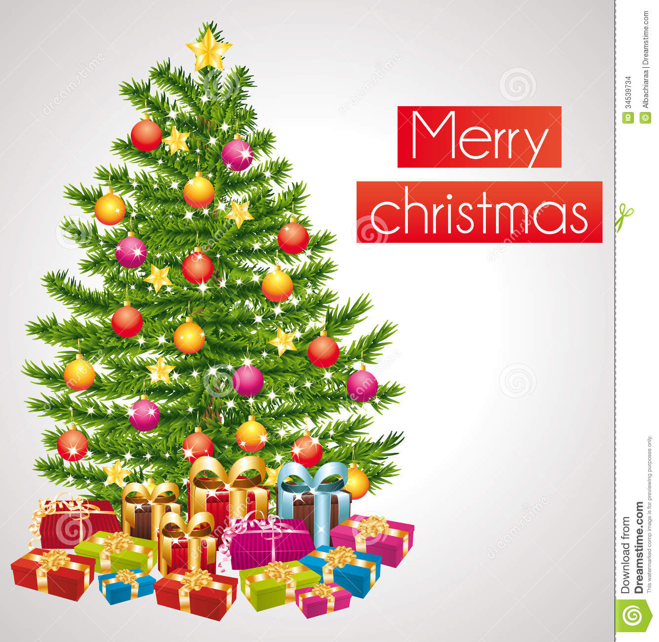 Merry Christmas. Greeting Card With Decorated Tree. Stock