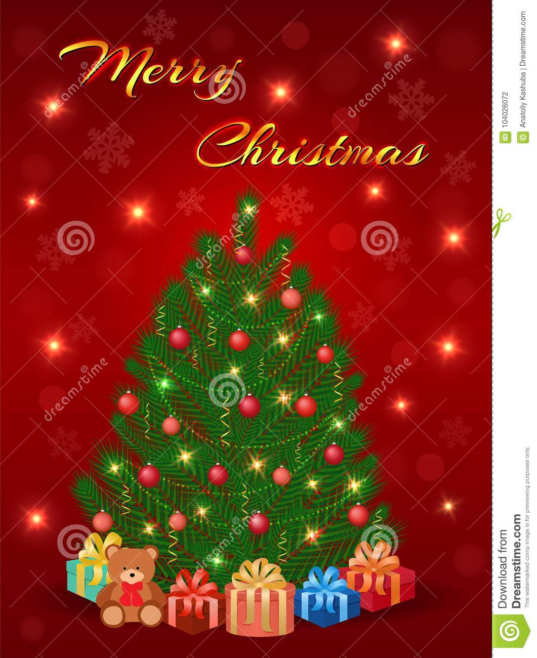 Merry Christmas Greeting Card Design With Christmas Tree Gifts And