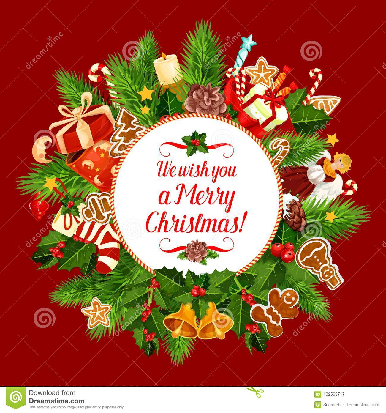 Merry Christmas Holiday Wish Vector Greeting Card Stock Vector