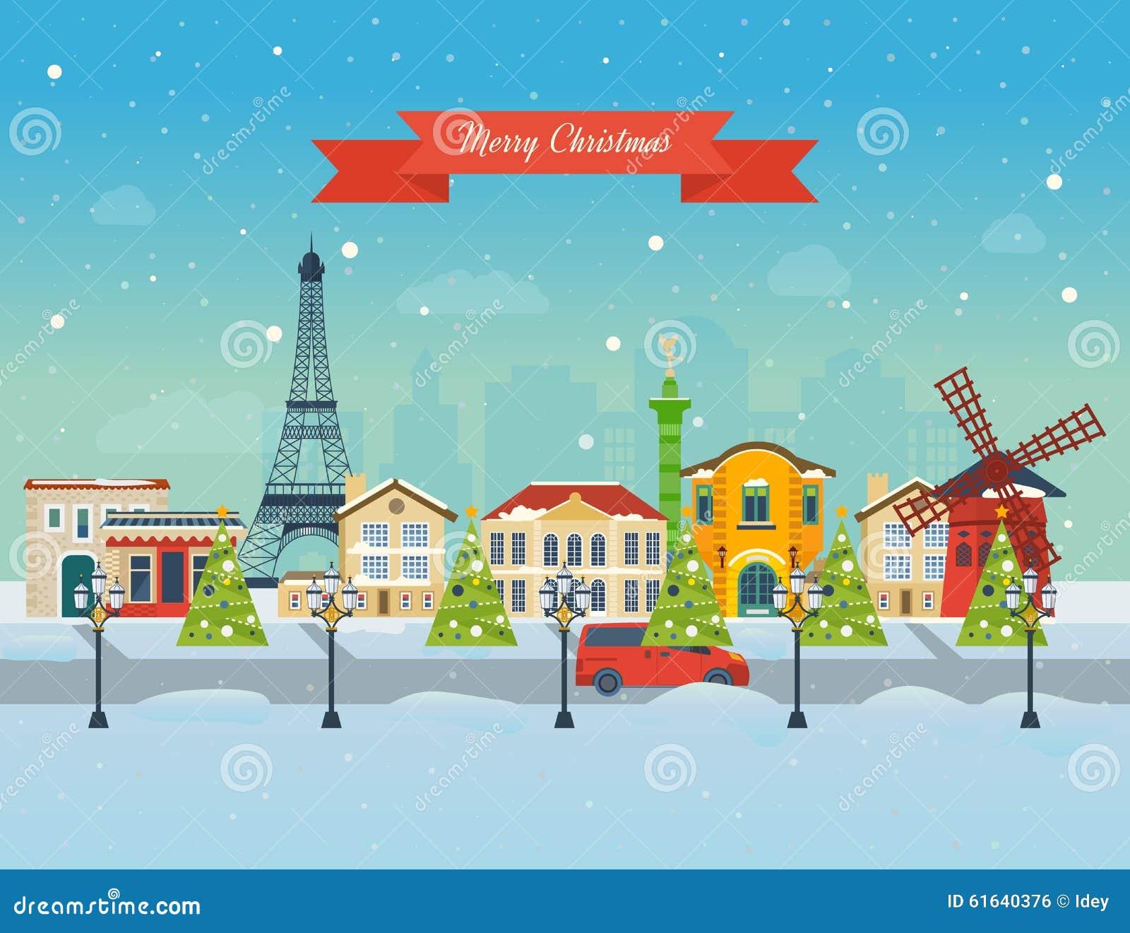 Merry Christmas Greeting Card Design. Paris Stock Vector