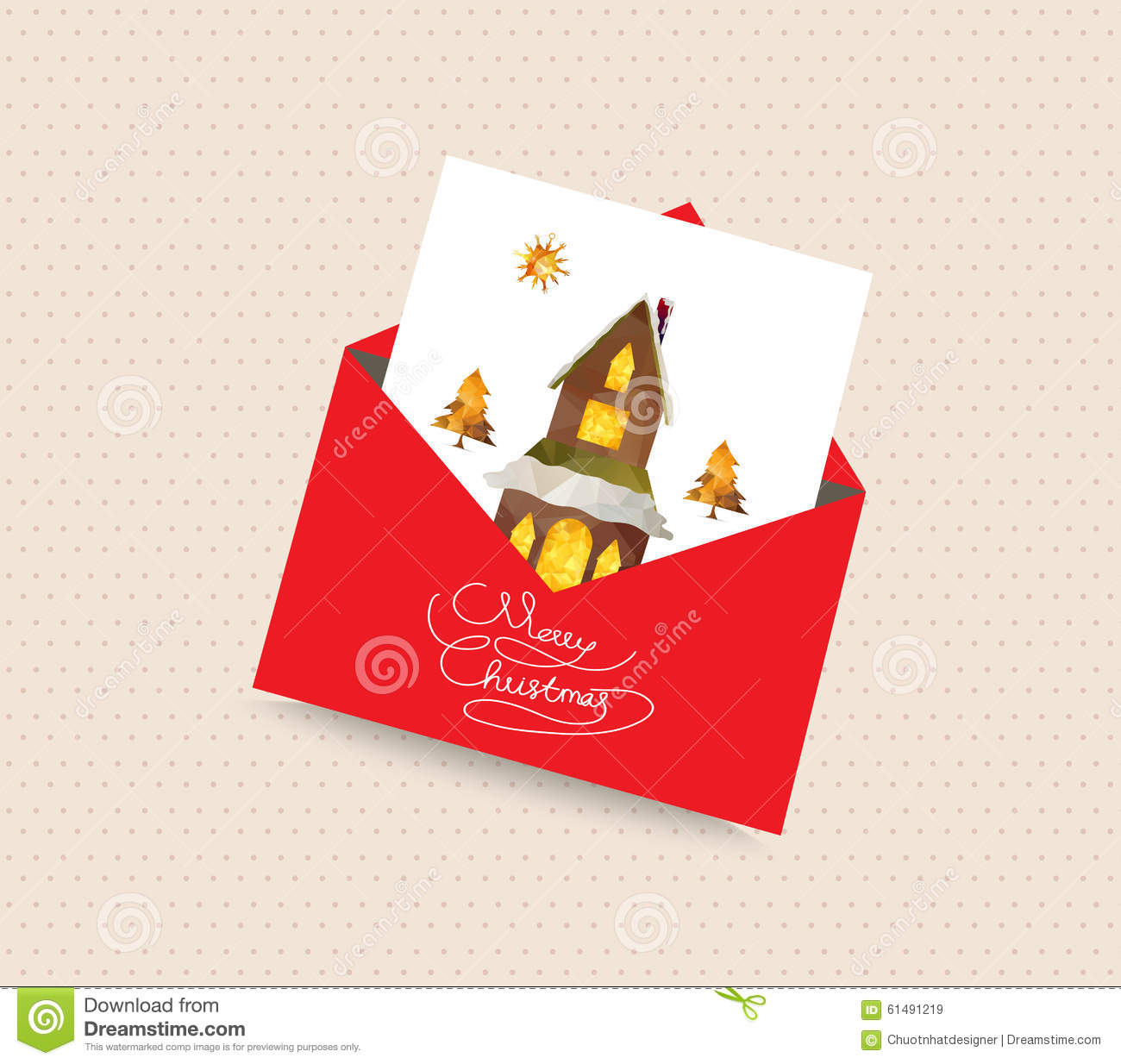 Merry Christmas Greeting Card With Envelope House And Tree