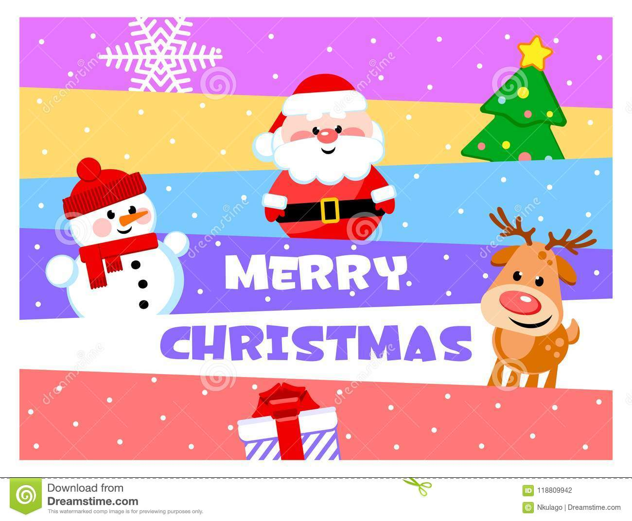download merry christmas greeting card with funny cartoon characters santa clause snowman - Funny Merry Christmas Greetings