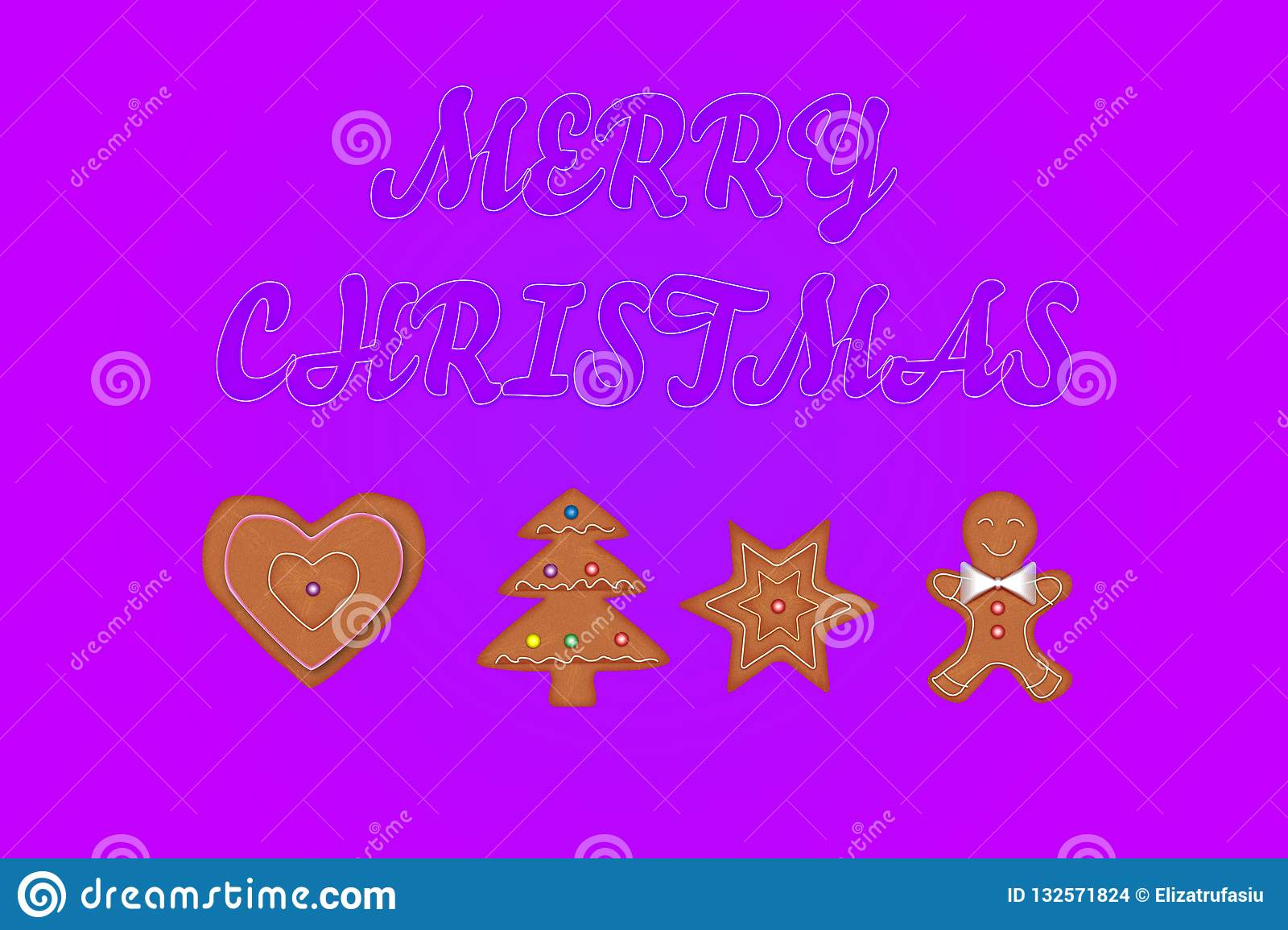 Merry Christmas greeting card with gingerbread cookies