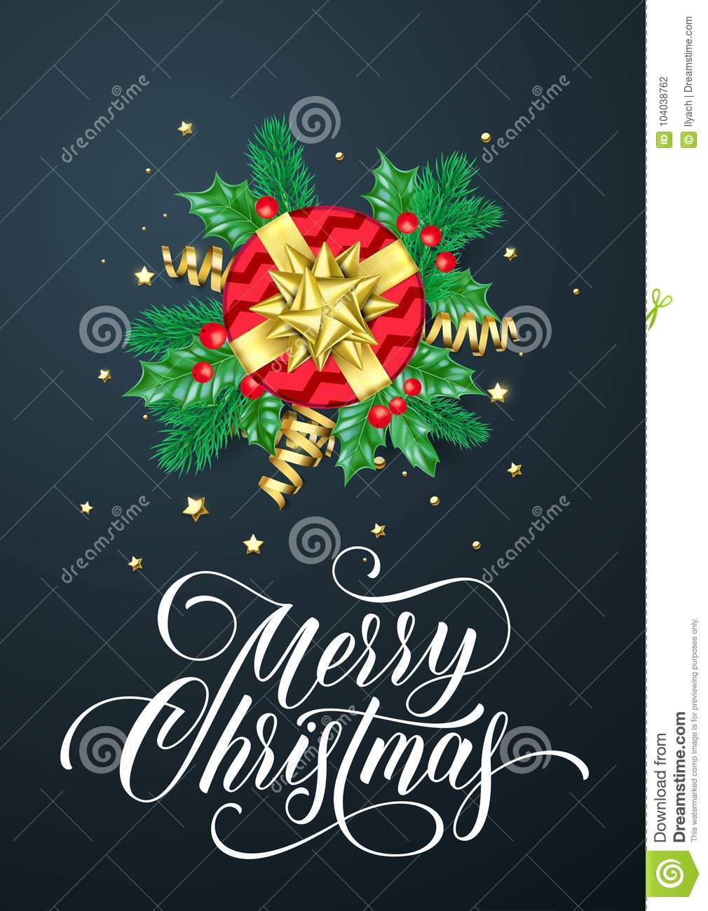 Merry Christmas Greeting Card Of Golden Decoration And Gold Gift