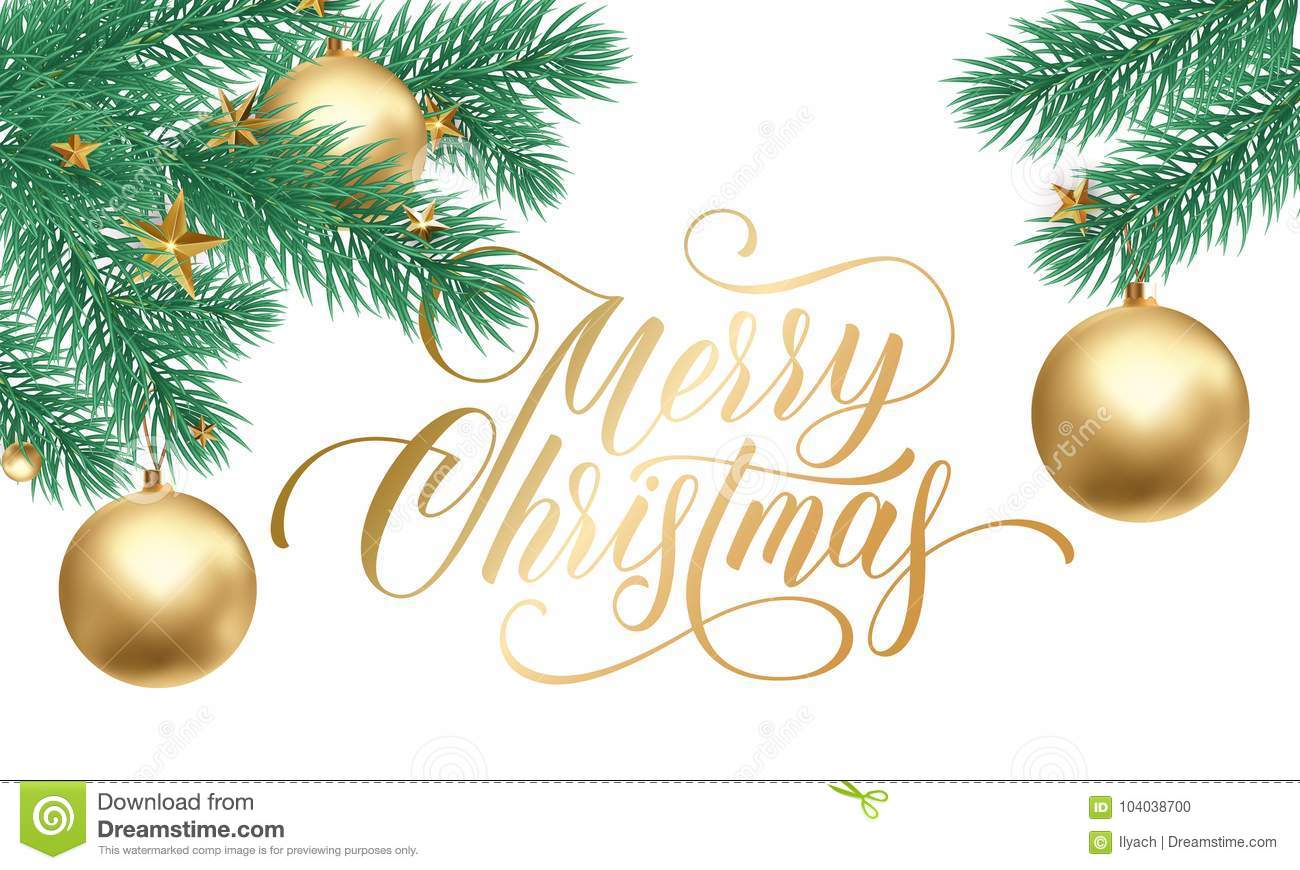 Merry Christmas Greeting Card Of Golden Decorations On Christmas