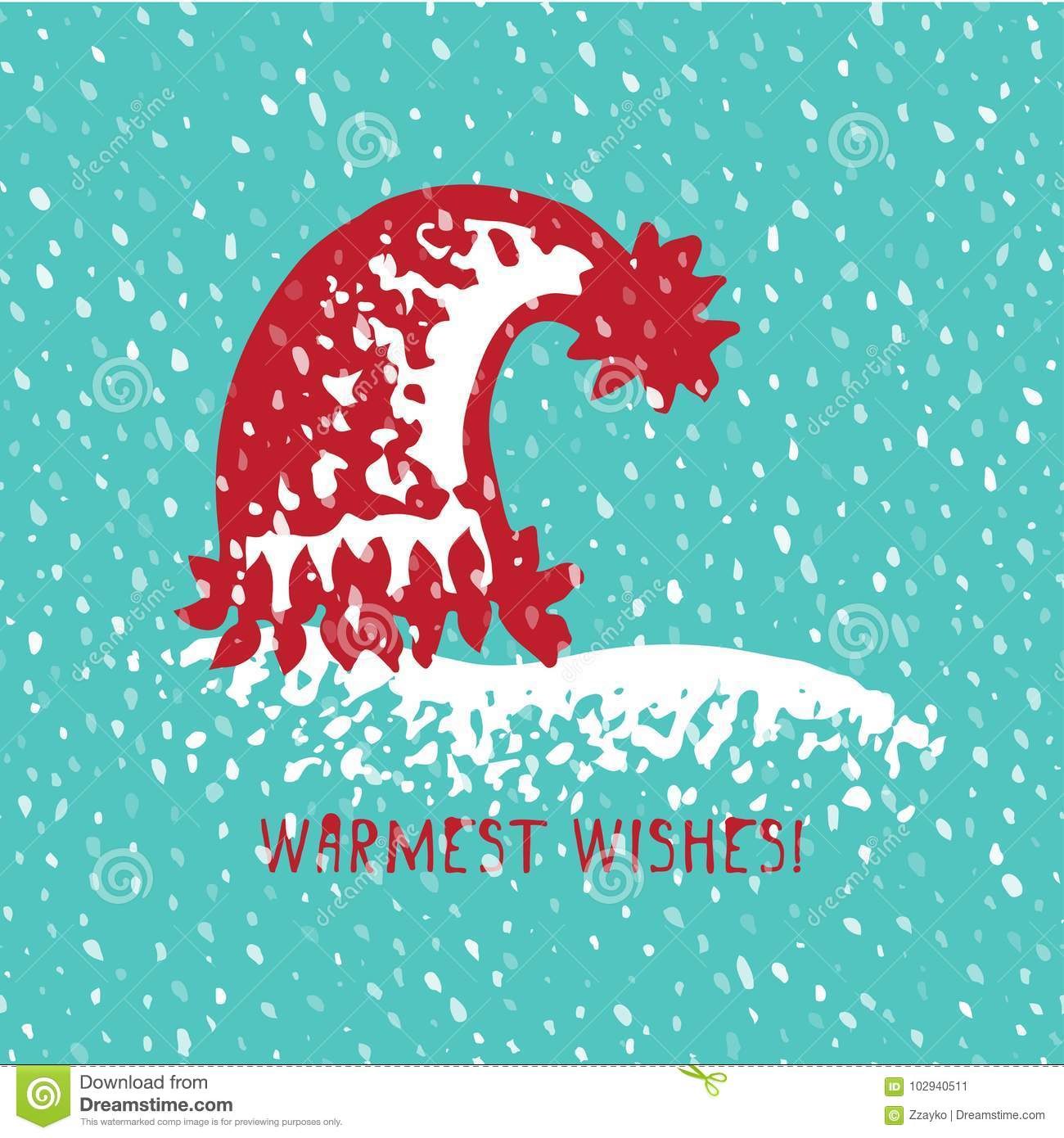8ce6864252af04 Merry Christmas Greeting Card With Hand Drawn Cute Knitting Hat ...
