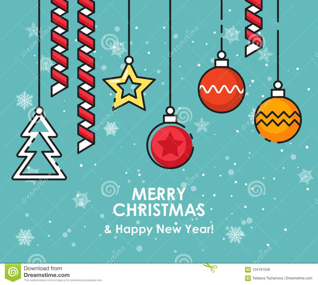 merry christmas greeting card happy new year wishes poster in flat line modern style modern christmas background christmas ornaments and decorations
