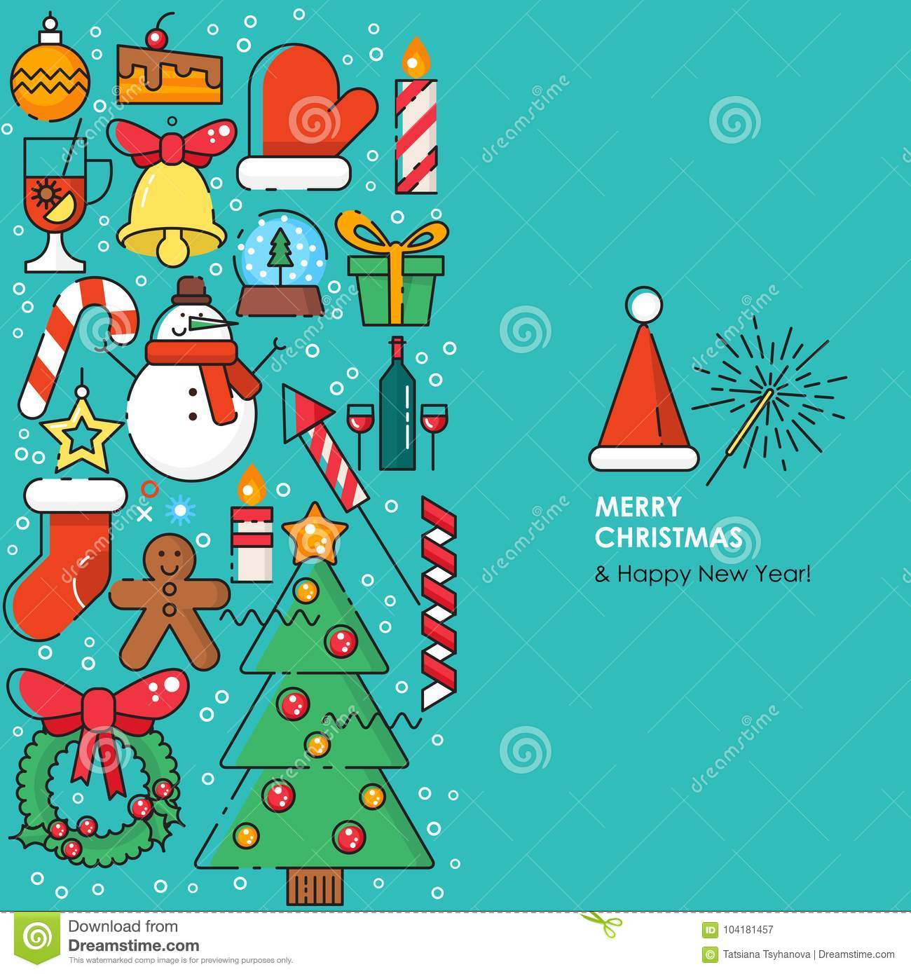 Merry Christmas Greeting Card With Christmas Icons Happy New Year