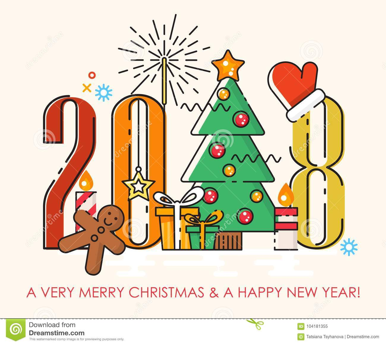 Merry Christmas Greeting Card 2018. Happy New Year Wishes ...