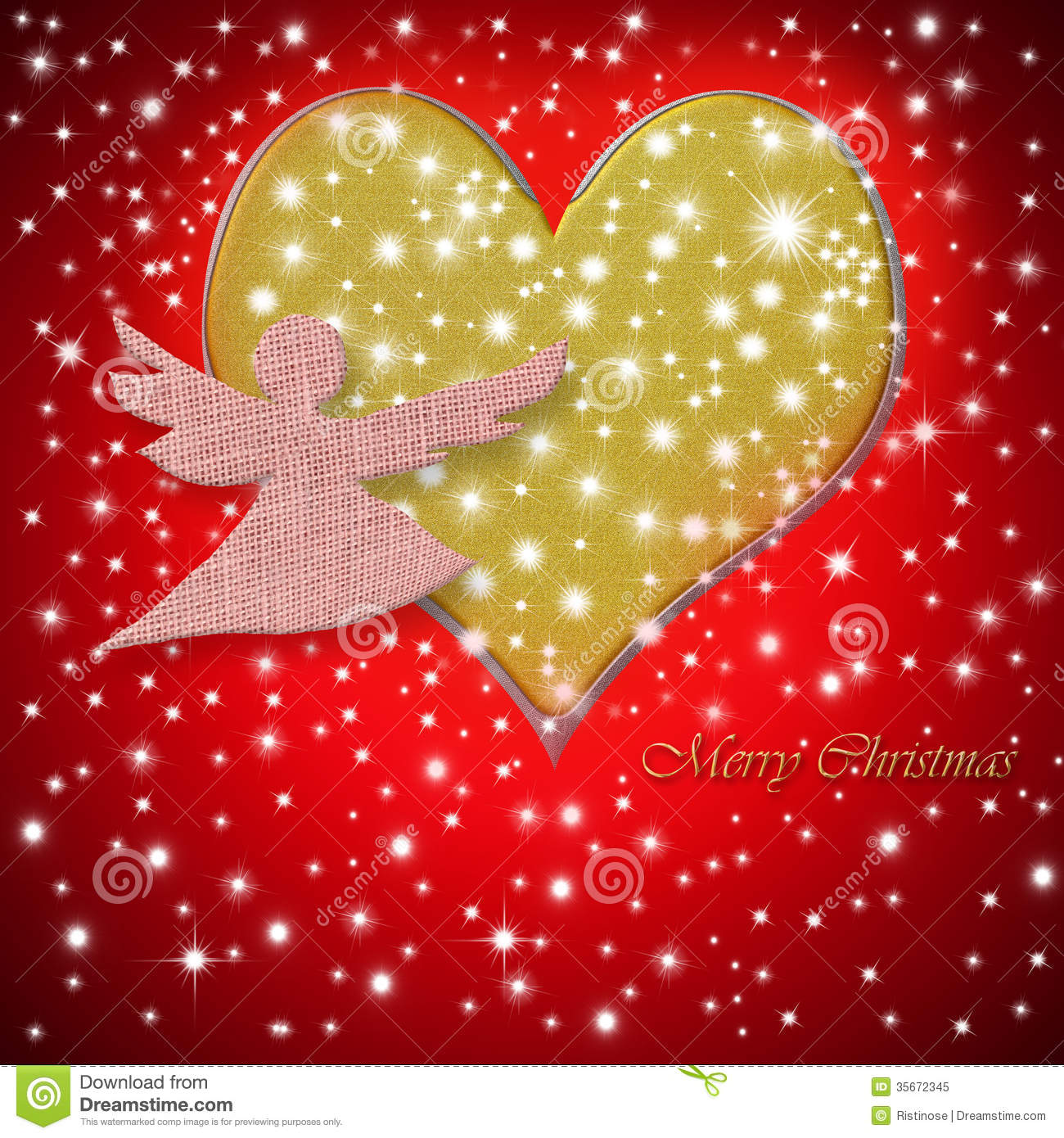 Merry Christmas Greeting Card Heart And Angel Stock Image - Image of ...