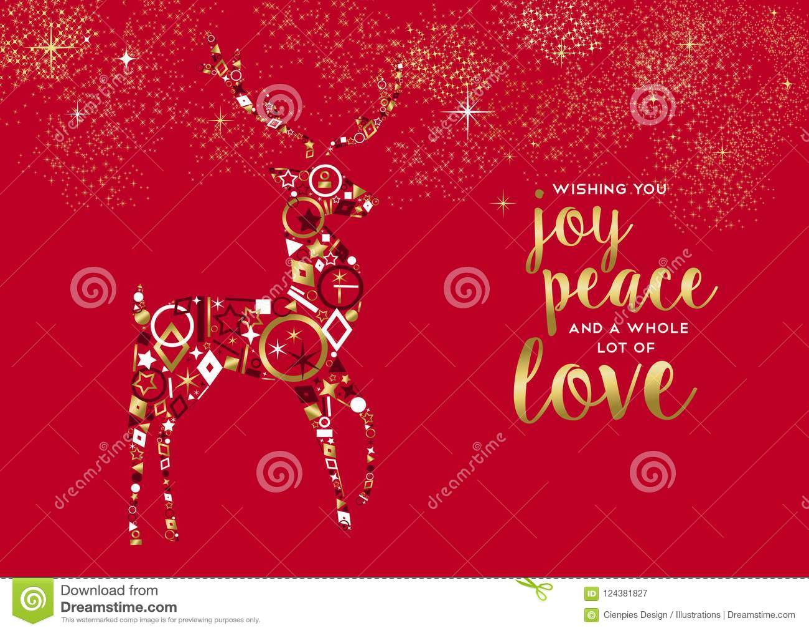Merry Christmas Gold Luxury Deer Greeting Card Stock Vector